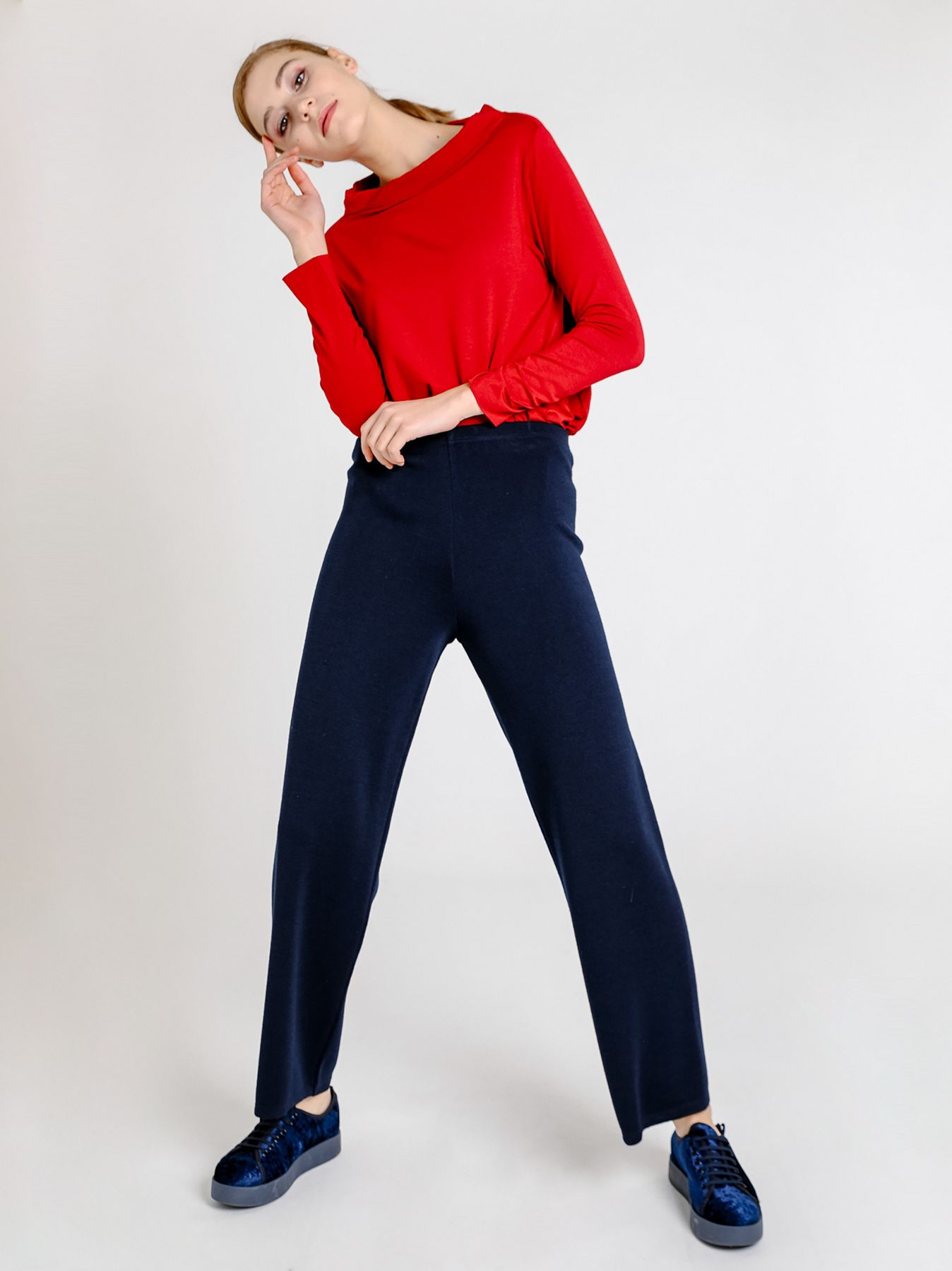 Pantalone svasato in maglia