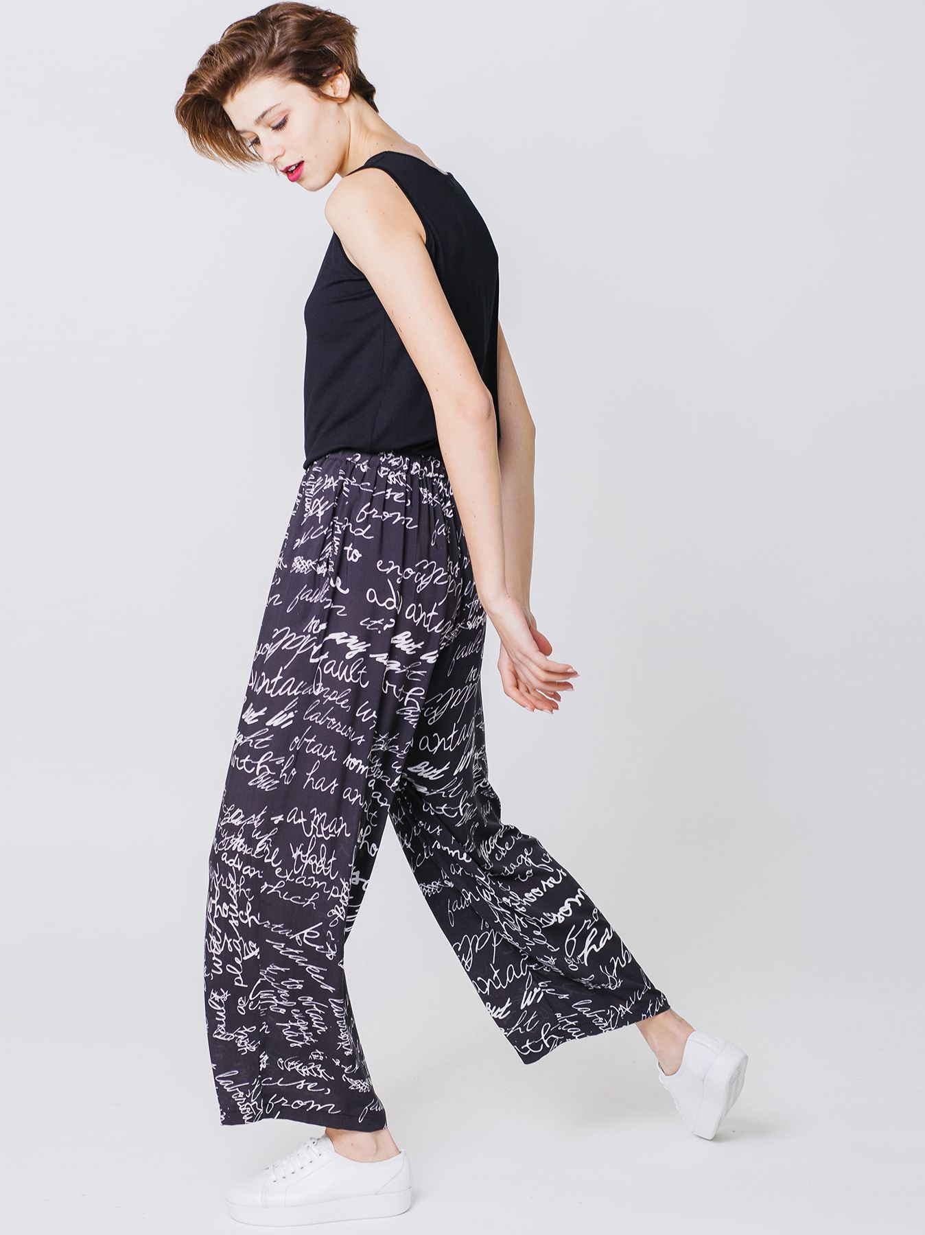 Pantalone gaucho con stampa Graphism