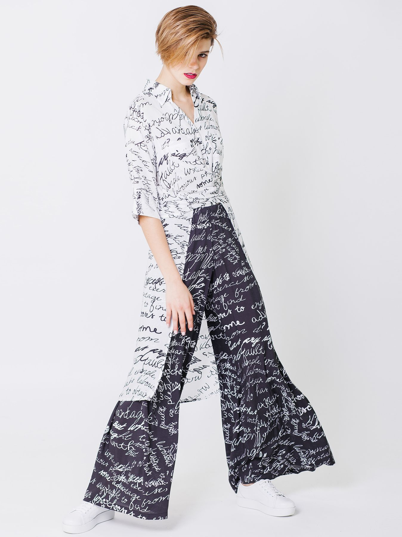 Camicia lunga con stampa Graphism
