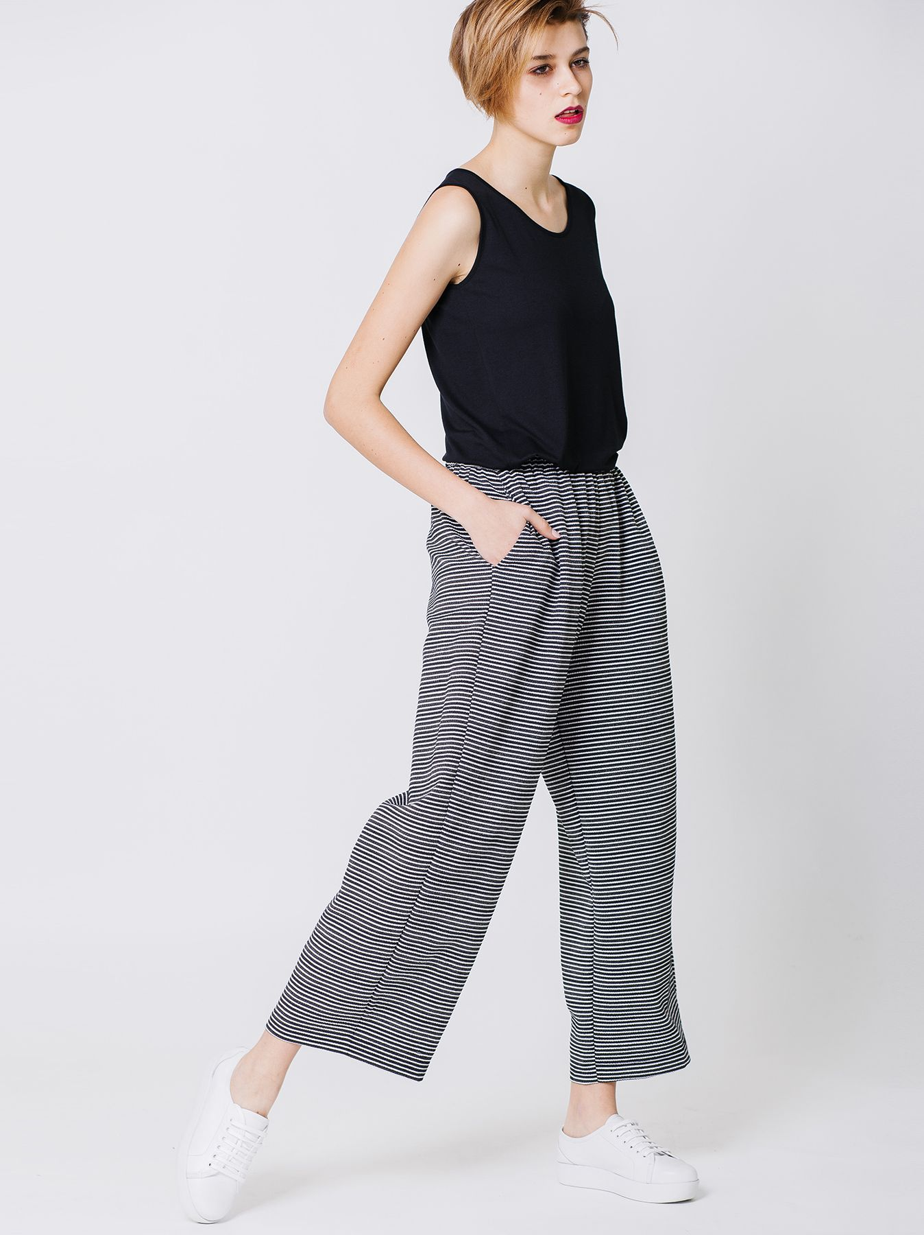 Pantalone gaucho a righe
