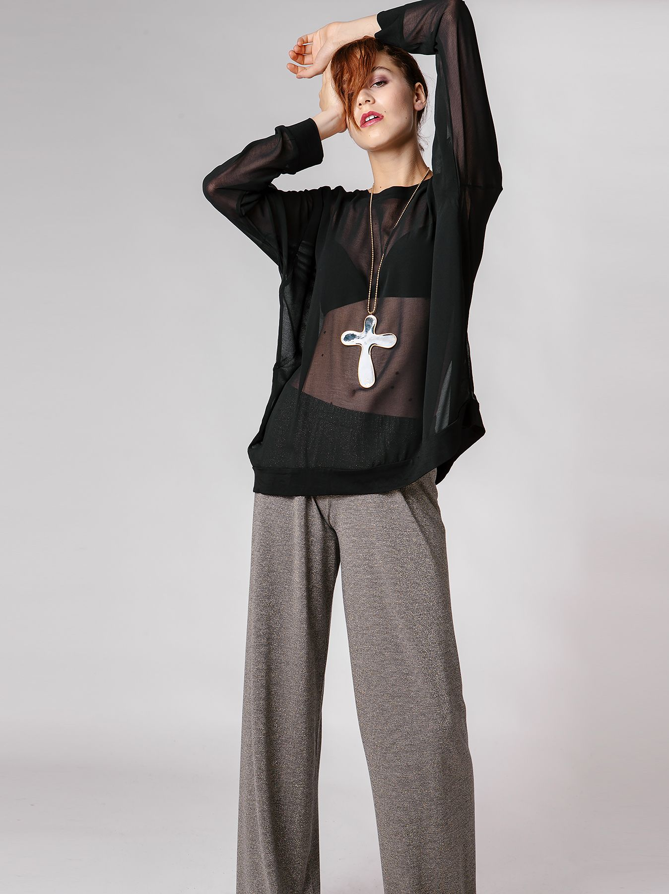 T-shirt con manica raglan in chiffon