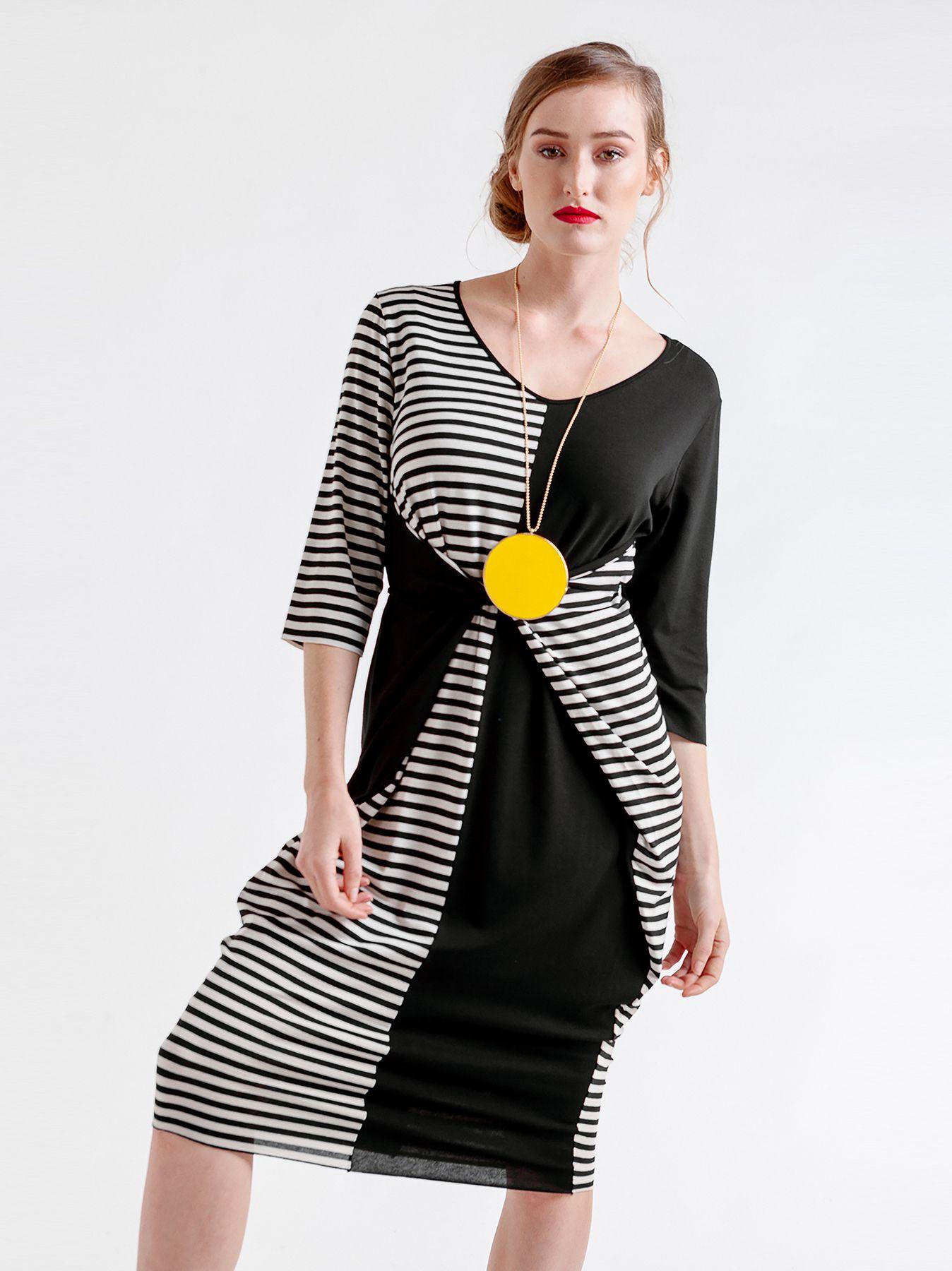 Abito color block & stripes