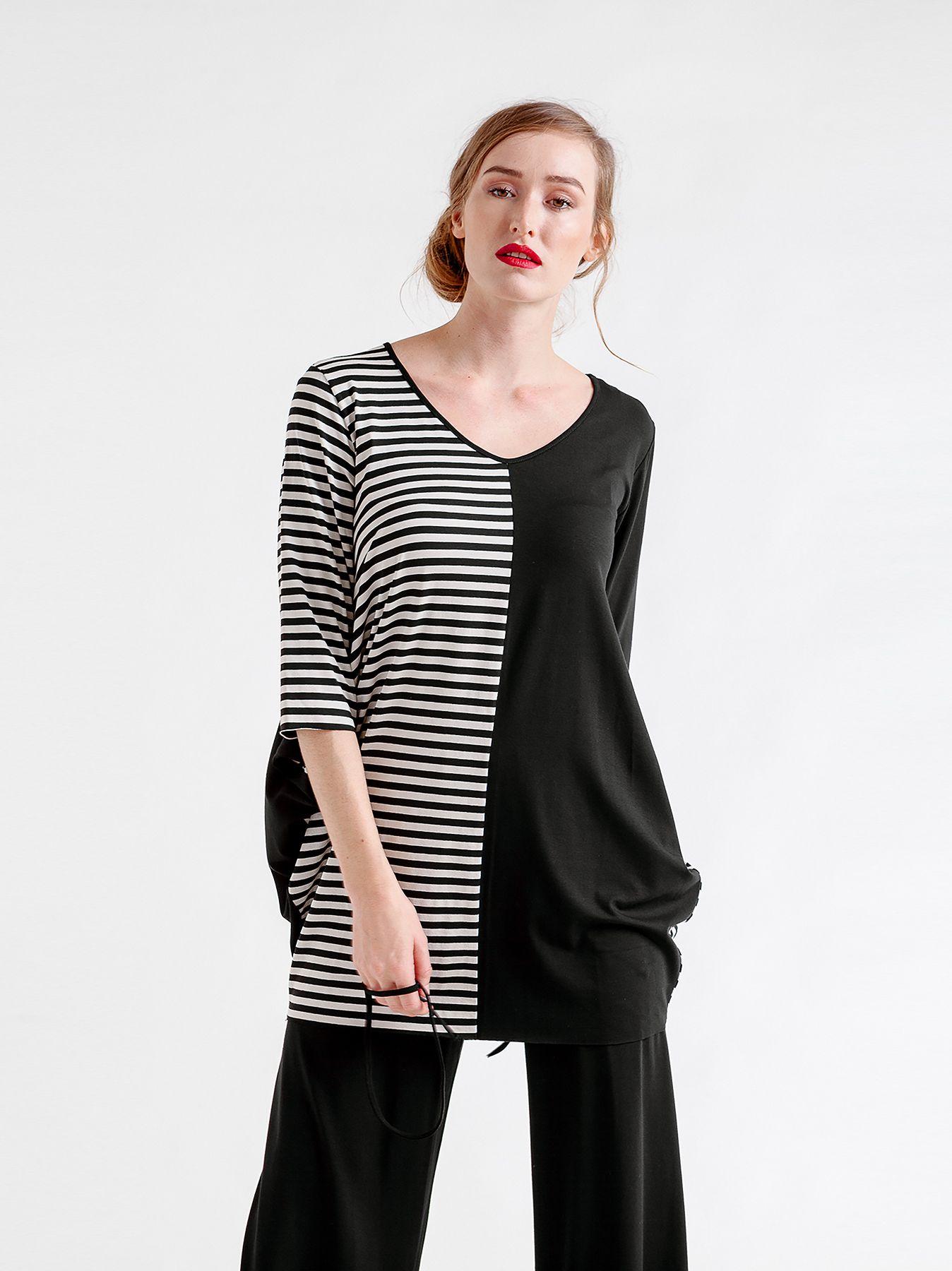 T-shirt color block & stripes