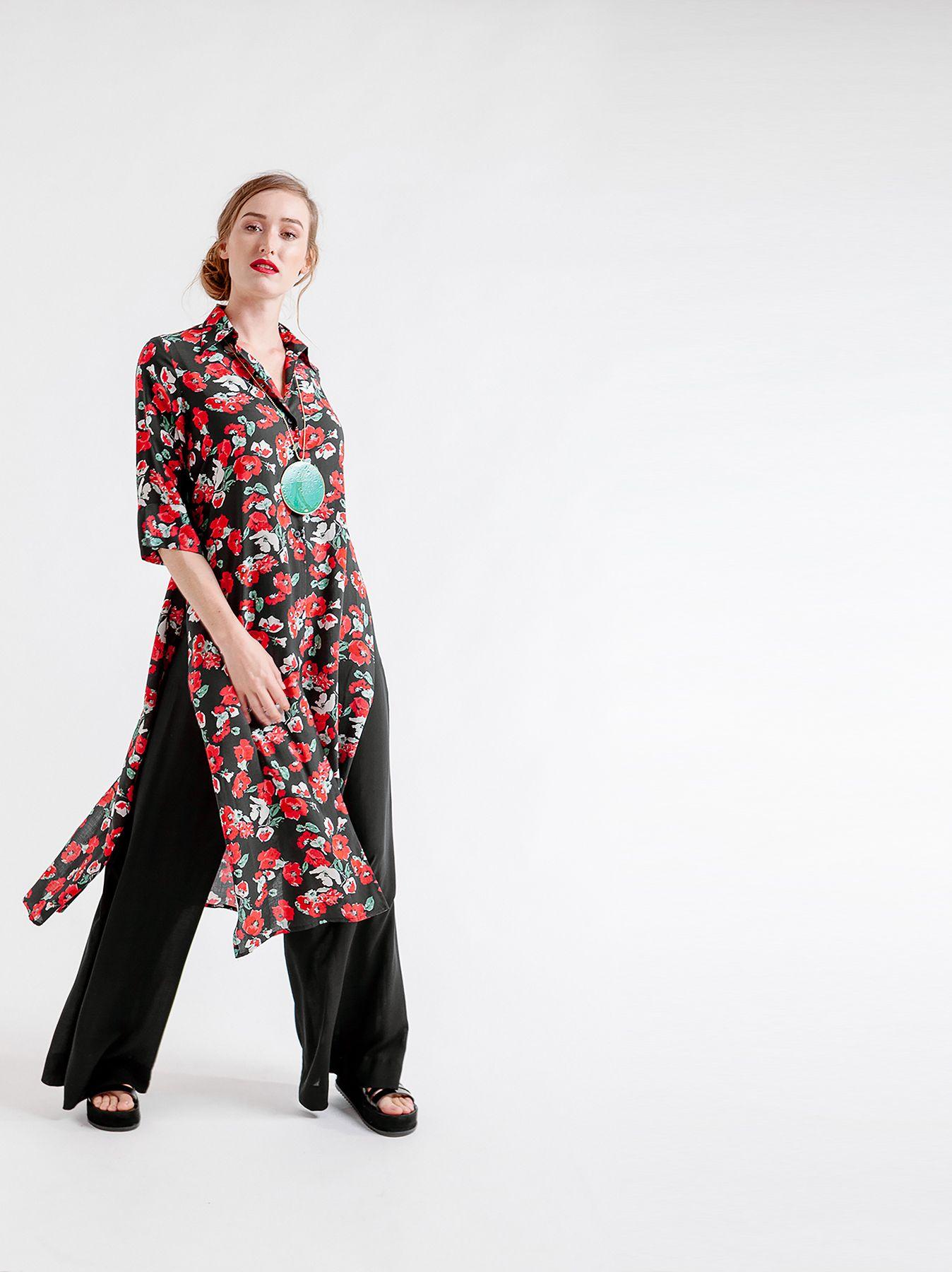 Camicia lunga FLOWER PRINT