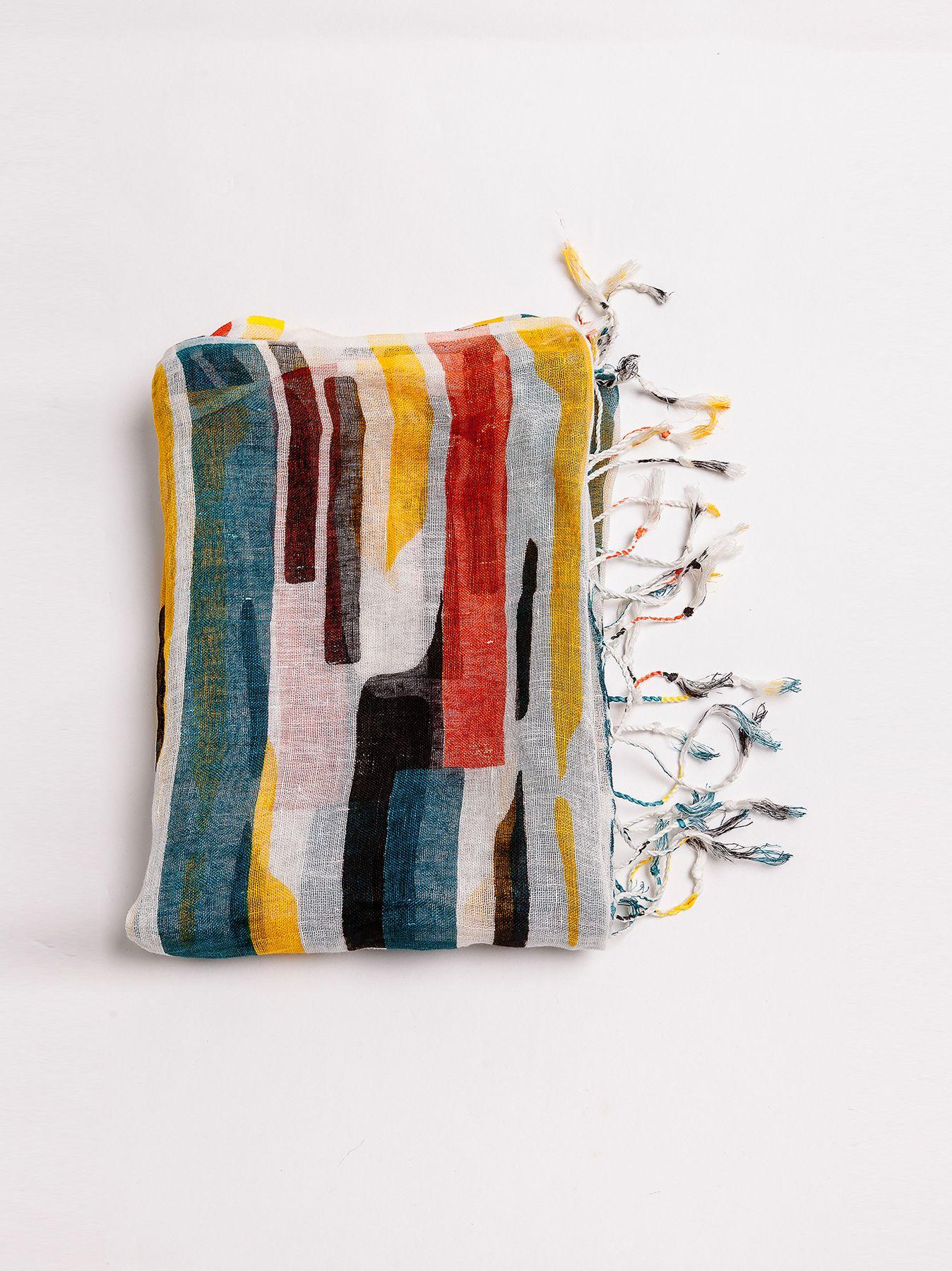 Sciarpa in lino motivo Mondrian
