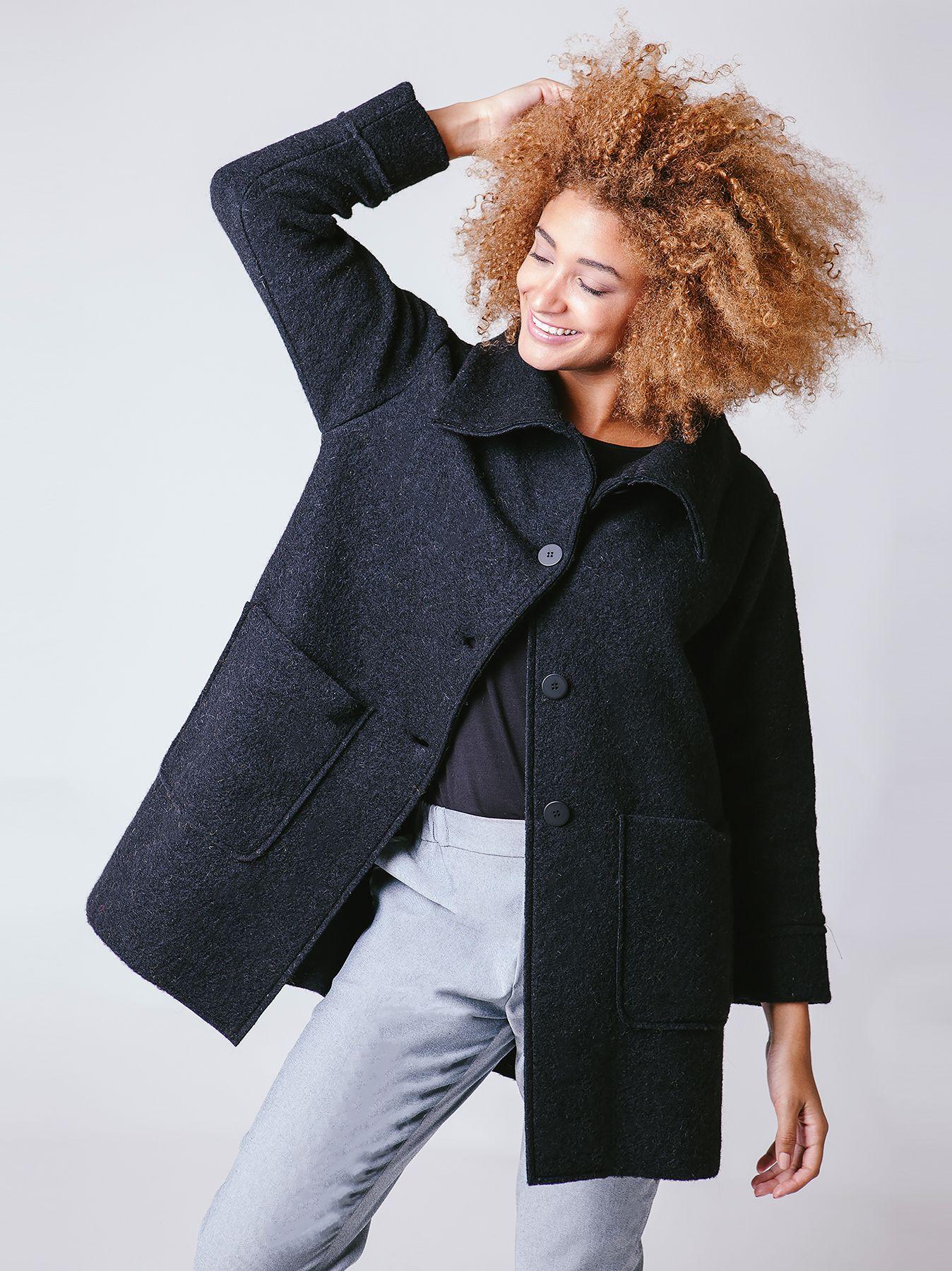 Giacca svasata in lana cotta