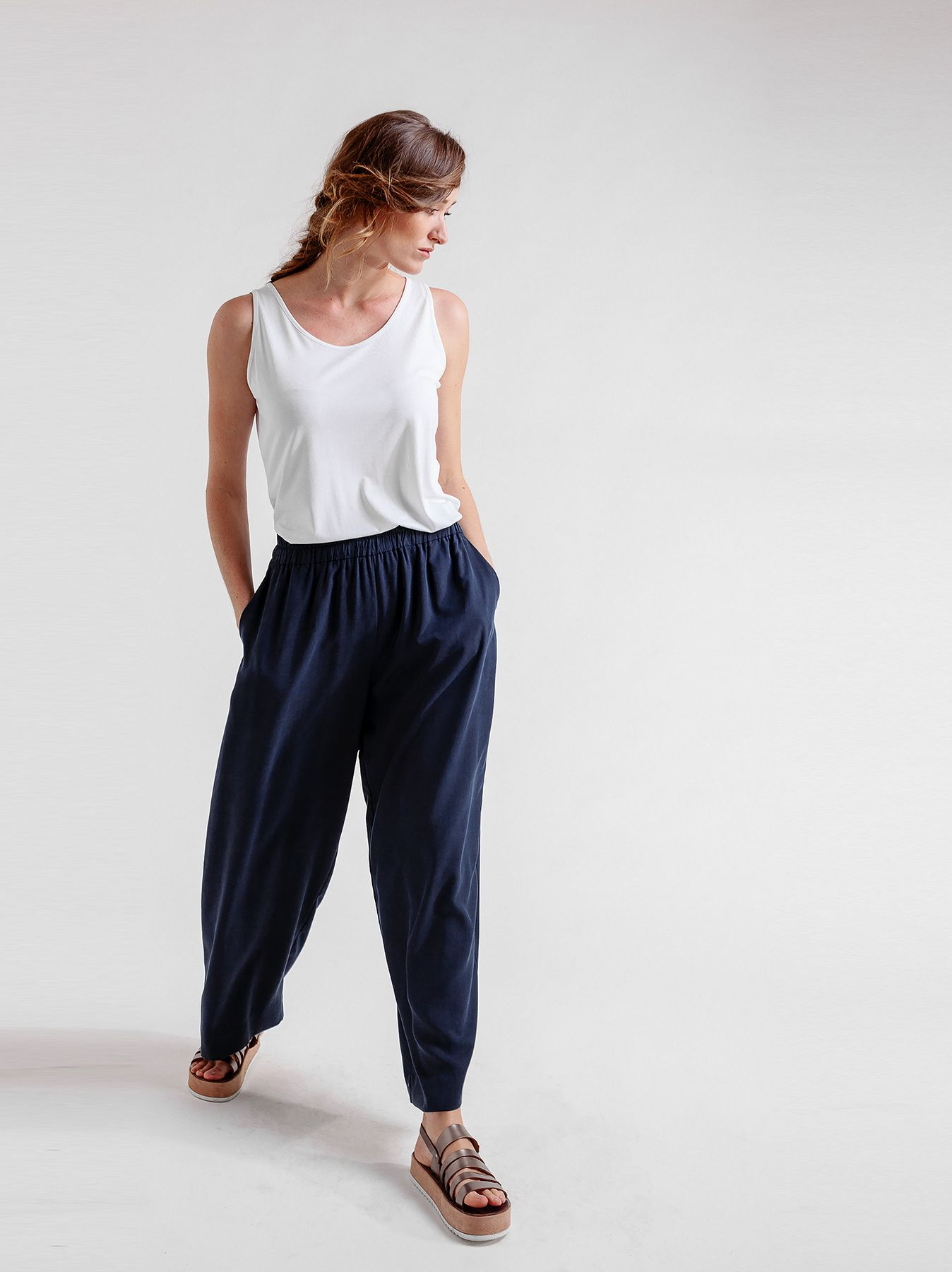 Pantalone cargo in tencel