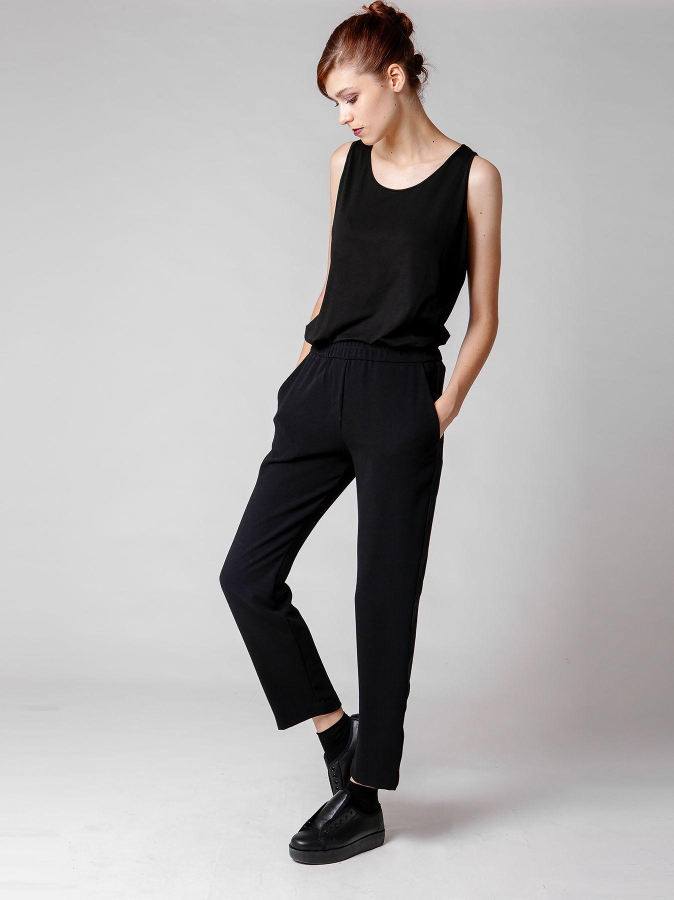 Pantalone con fascia di raso lucido