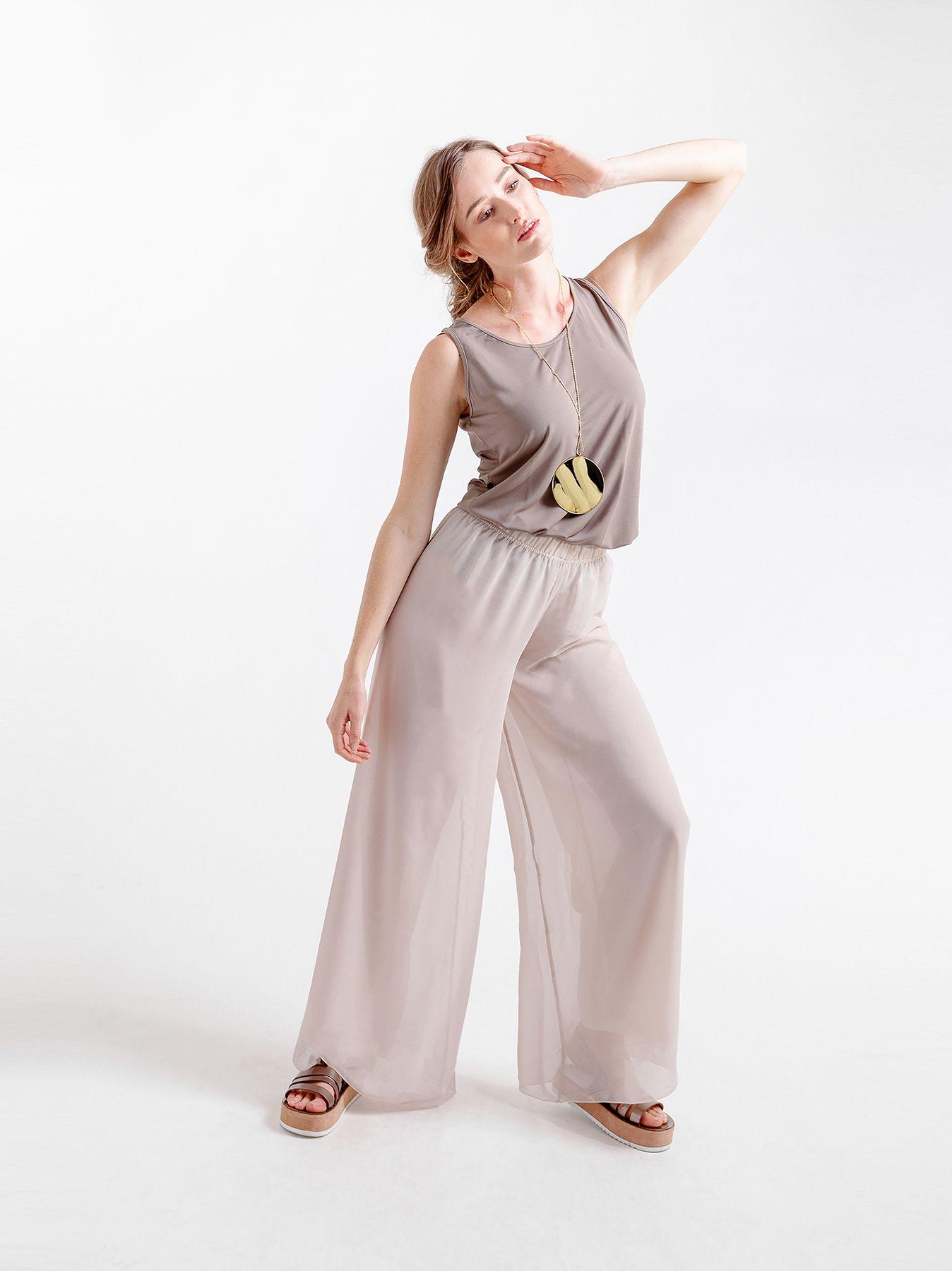Pantalone elastico in chiffon