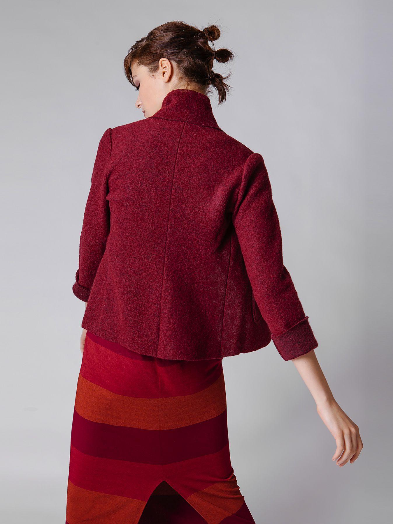 Giacca corta in lana cotta