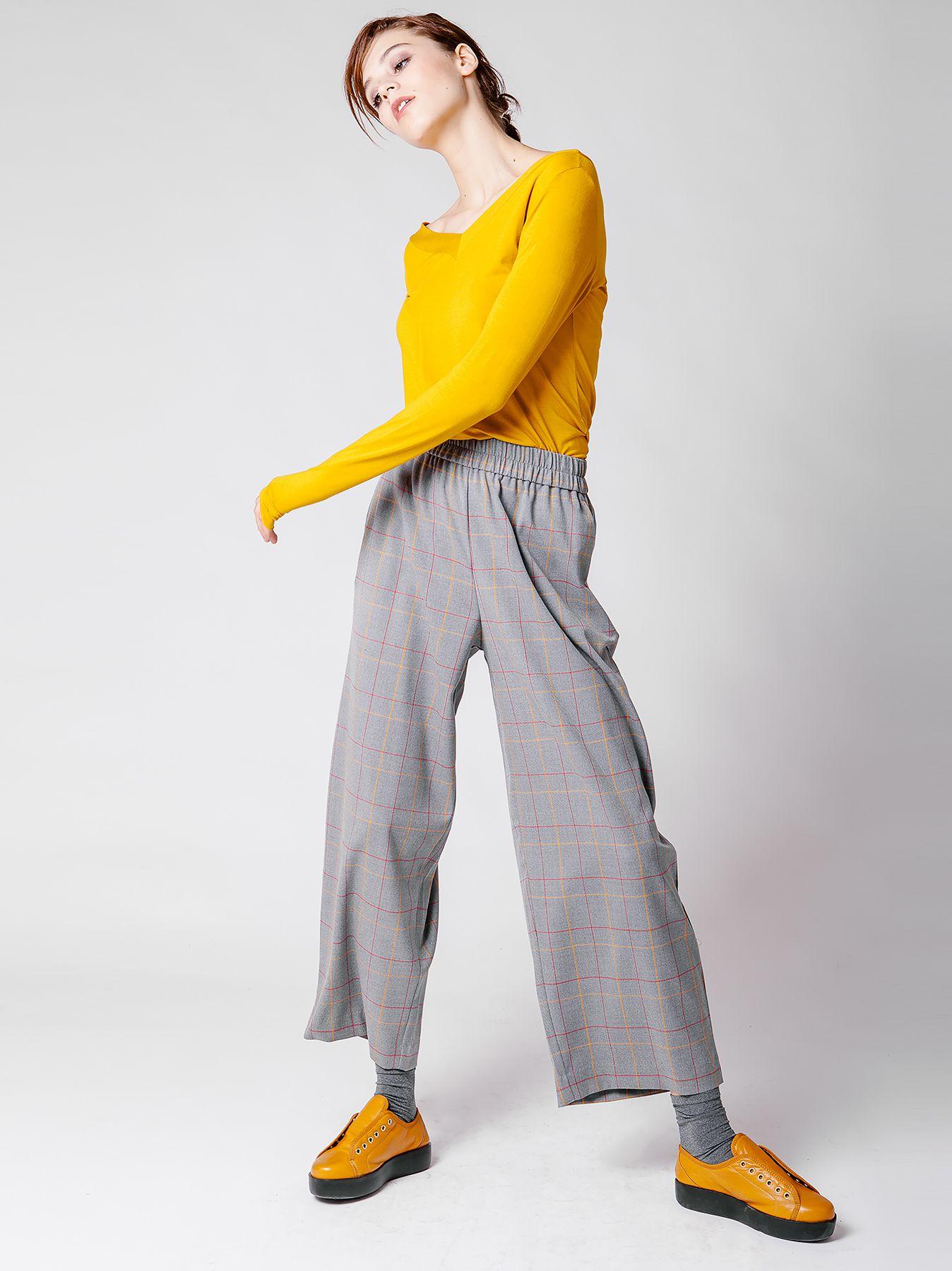 Pantaloni gaucho con fantasia check