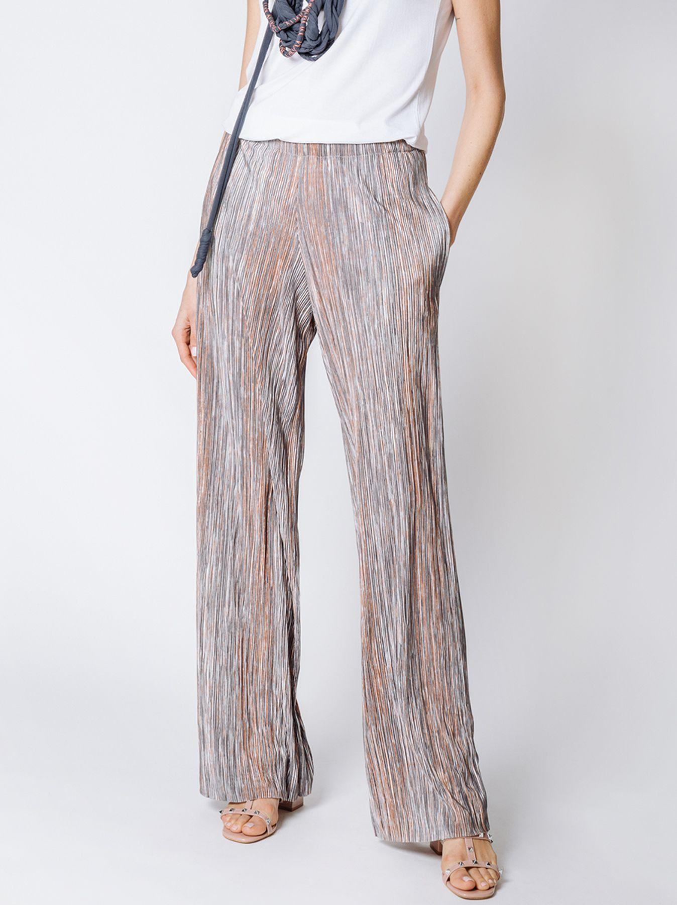 Pantalone morbido in tessuto plissé