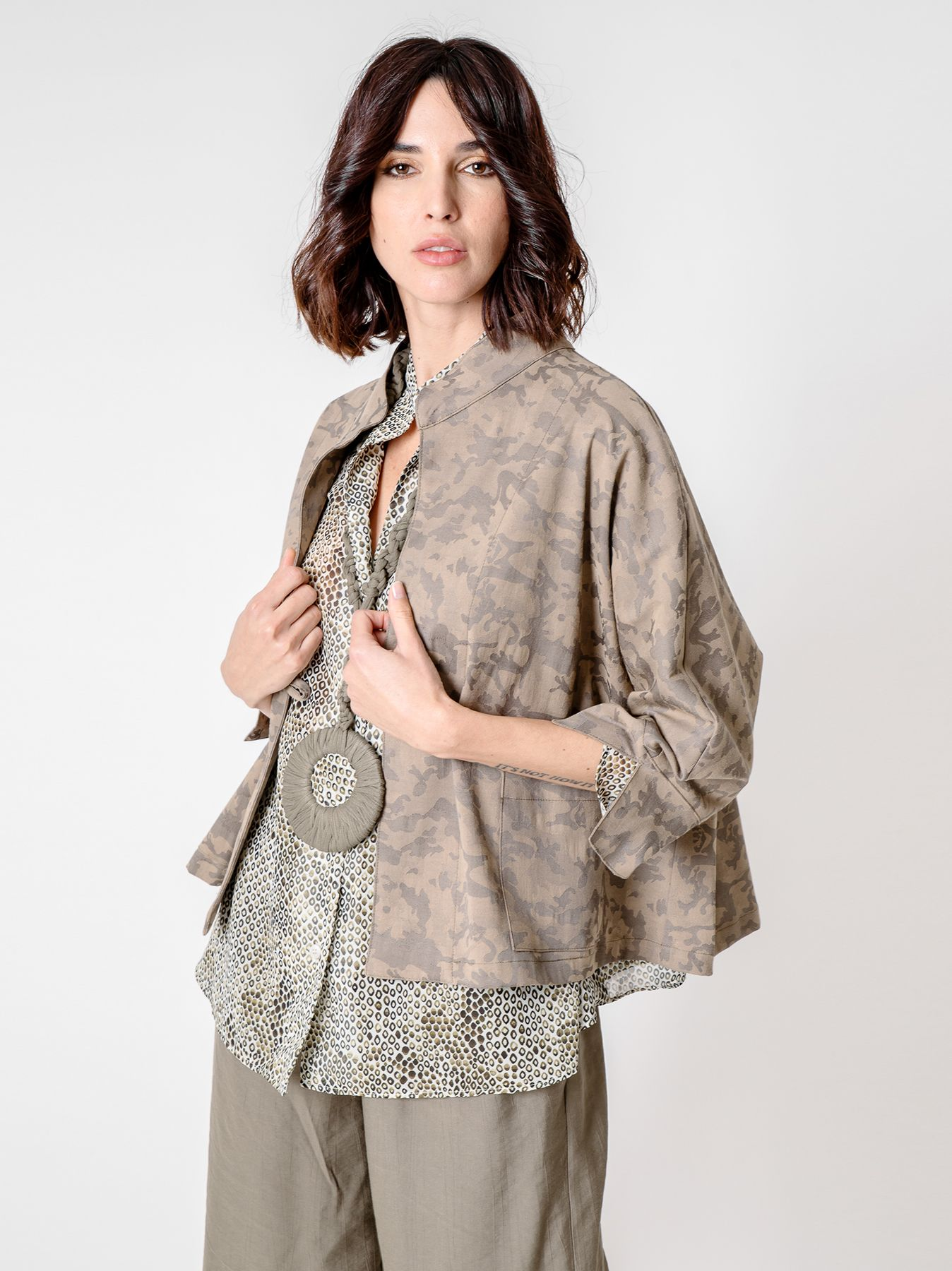 Giacca kimono camouflage