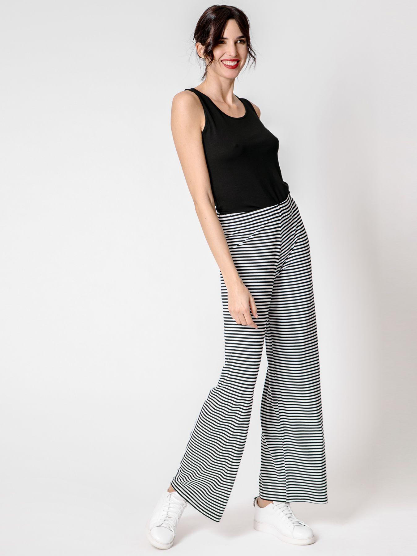 Pantalone elastico rigato