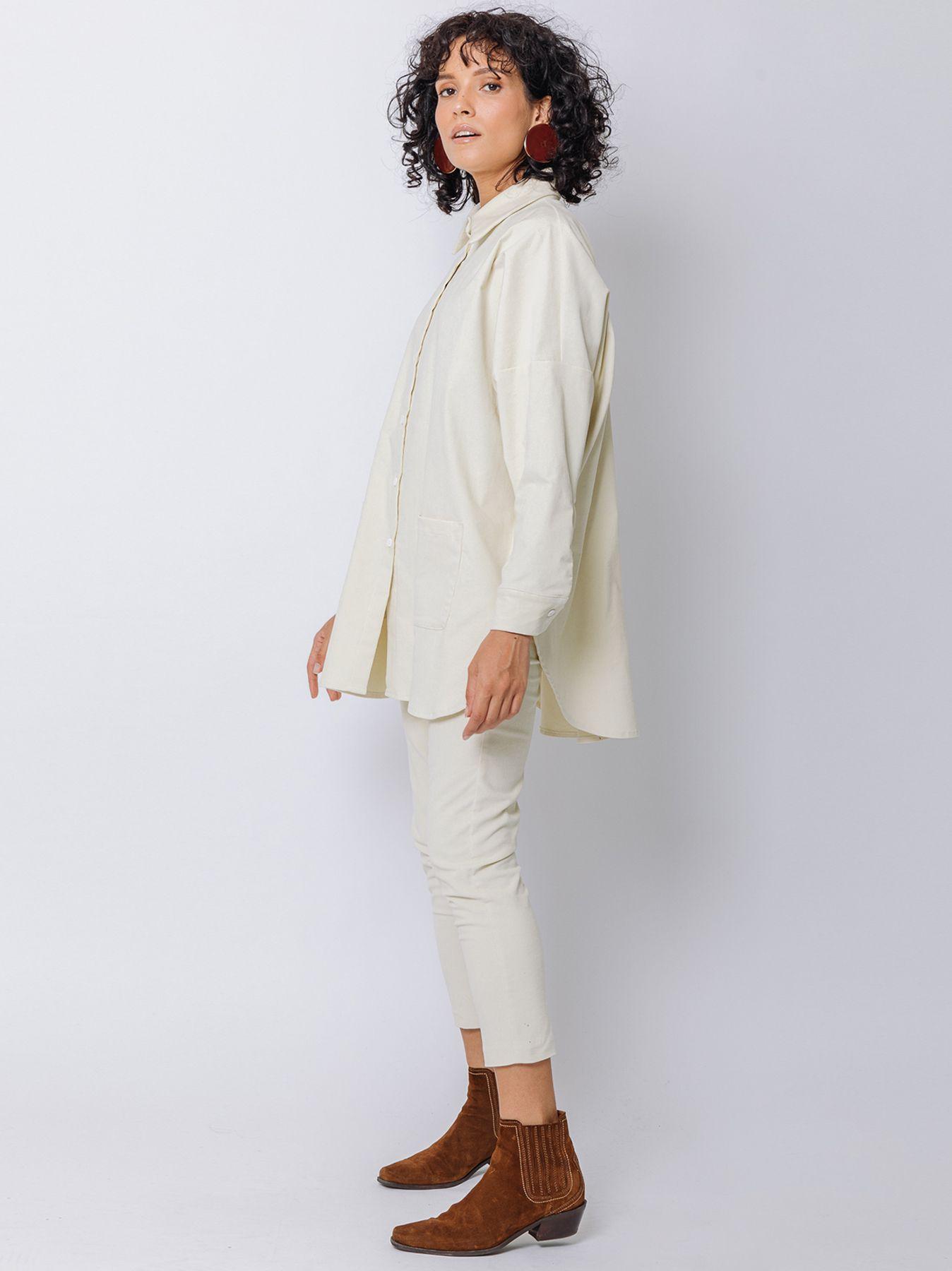 Giacca camicia in velluto millerighe