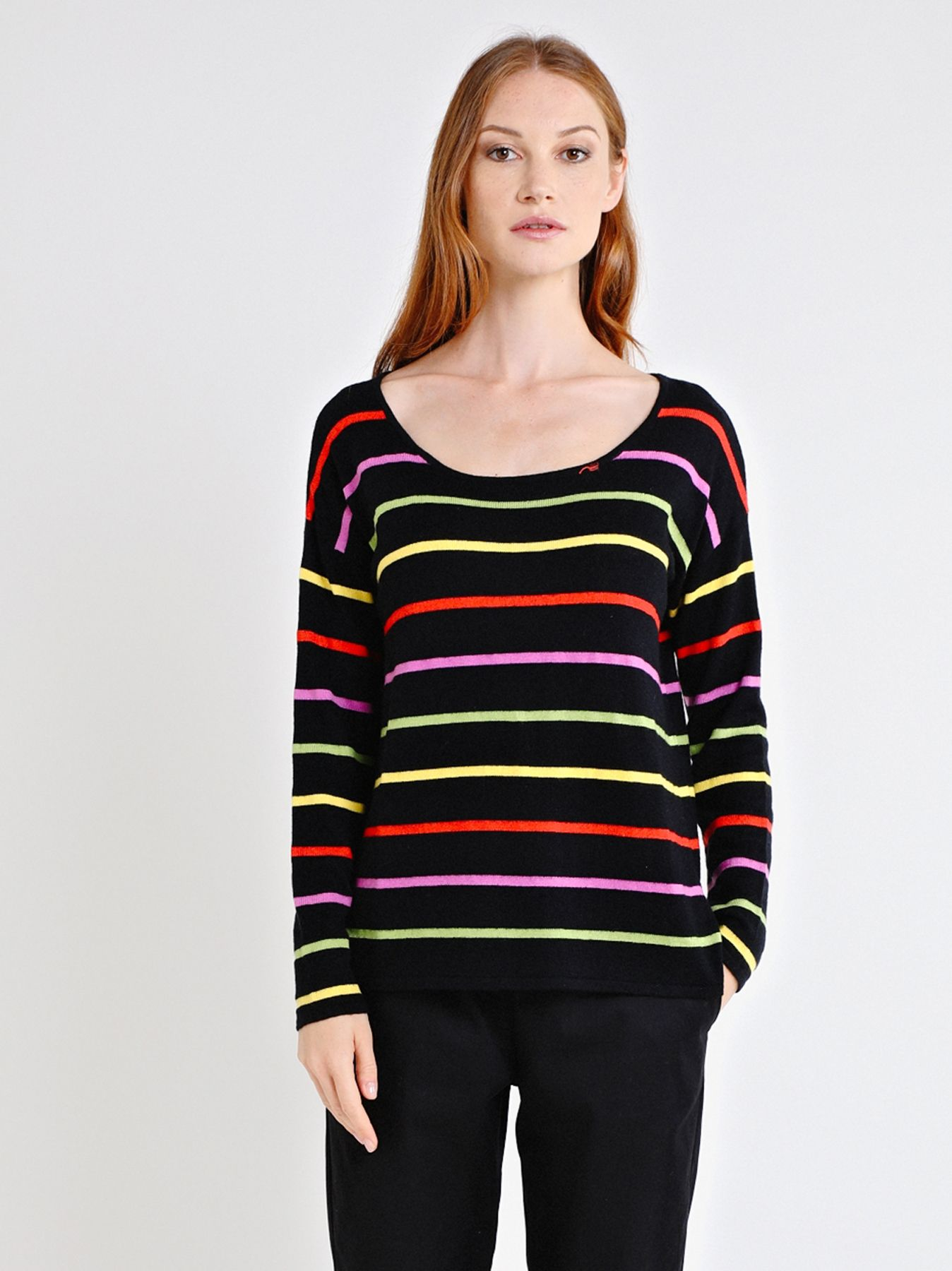 Multi stripe box shaped body knit jumper