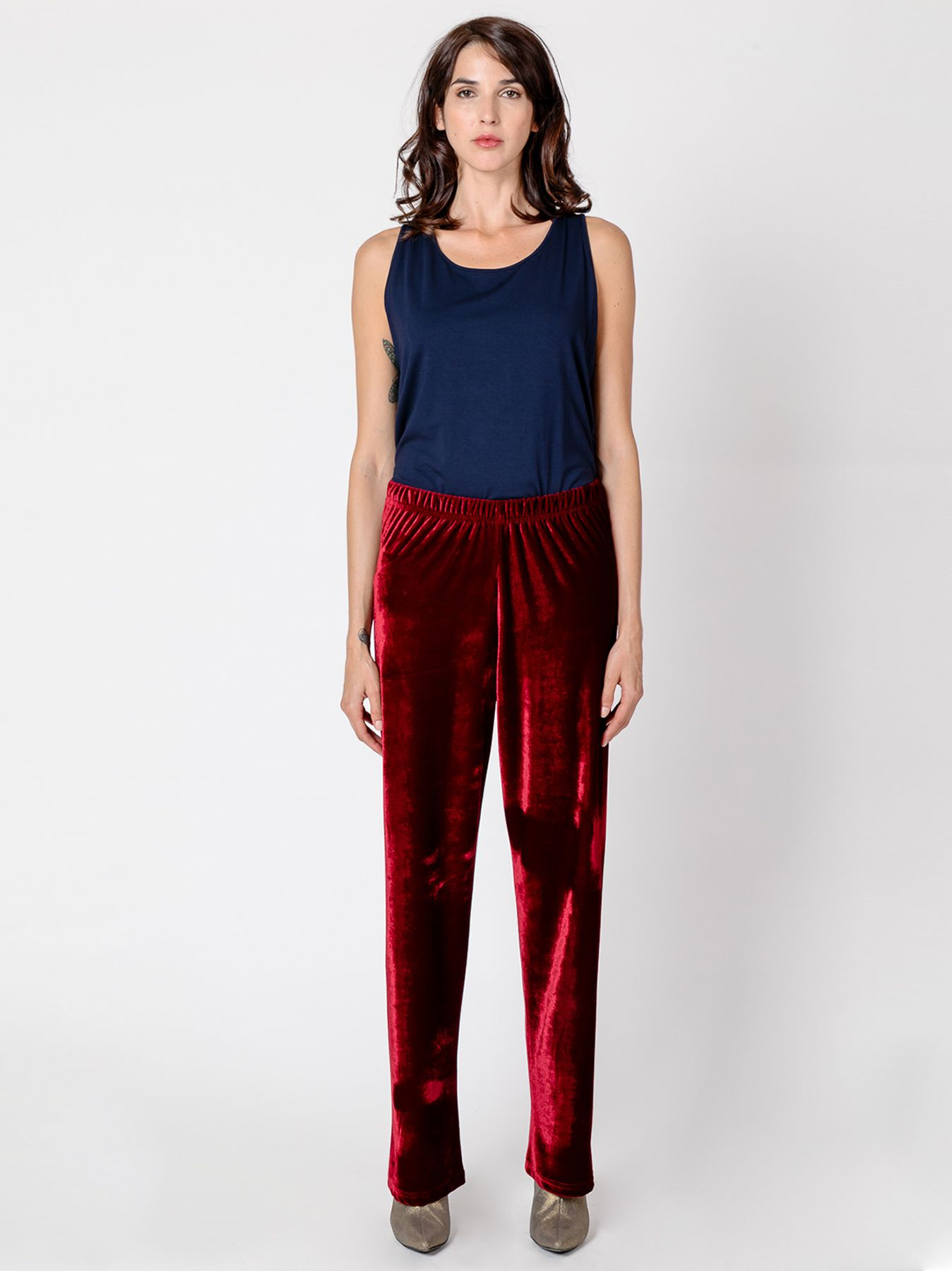 Pantalone morbido in velluto BORDEAUX