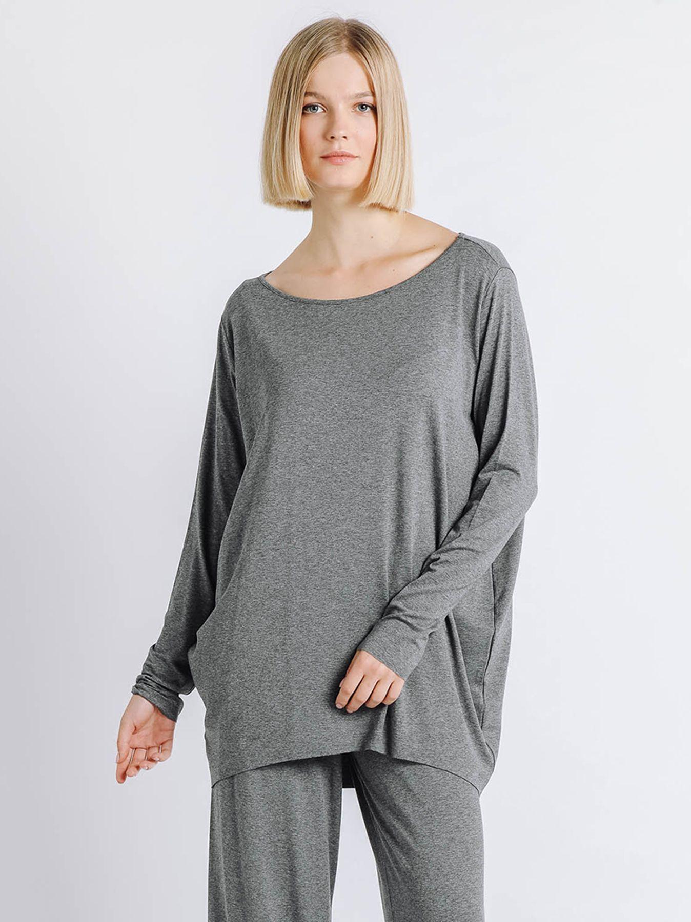 T-shirt ovetto maniche lunghe GRIGIO