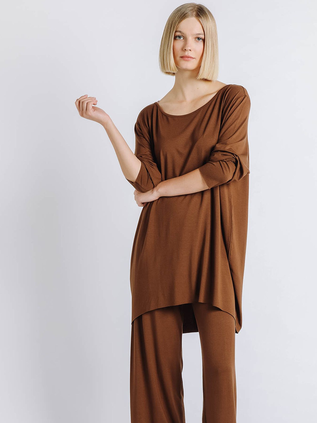 T-shirt ovetto maniche lunghe CACAO