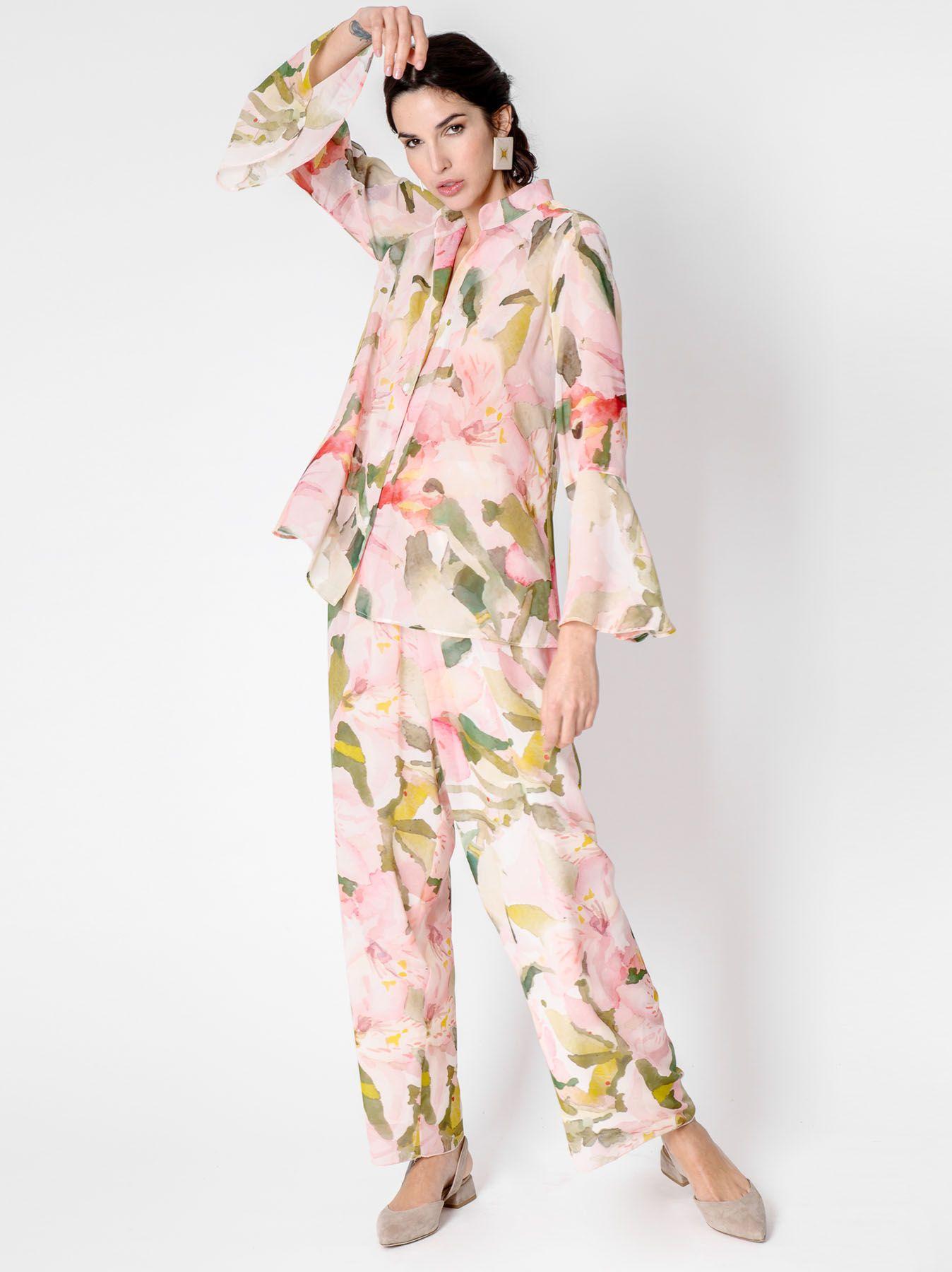 Camicia con disegno floreale astratto