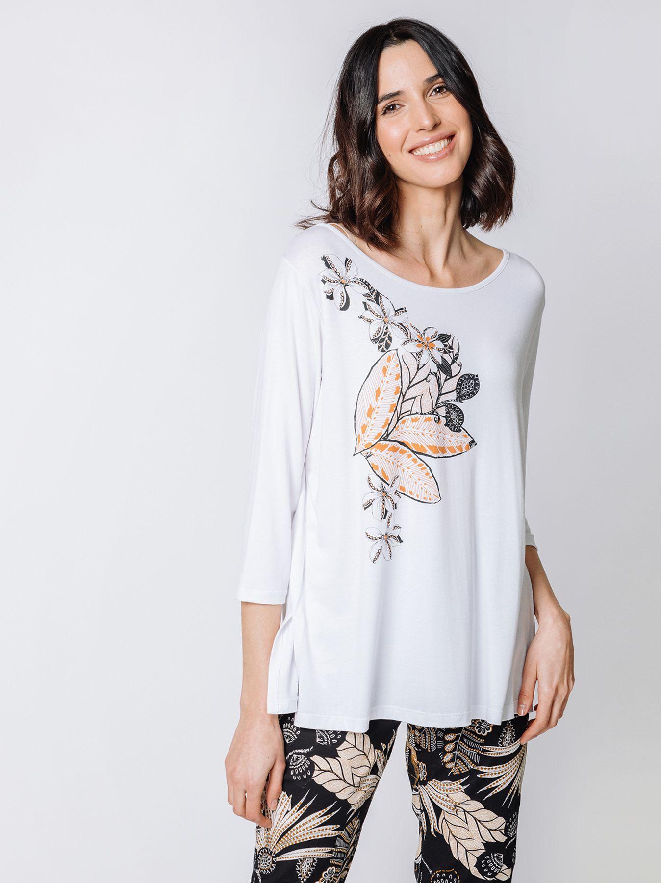 T-shirt con disegno stampa fiori
