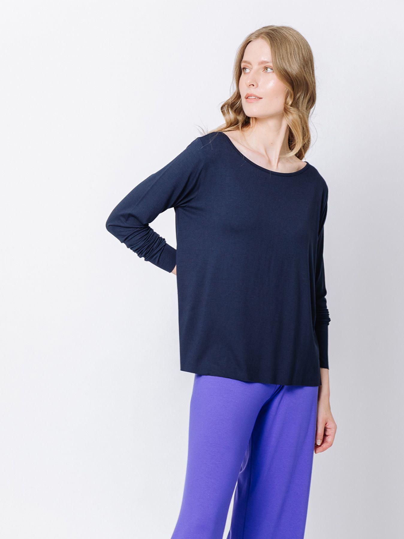 T-shirt scatoletta BLU maniche lunghe