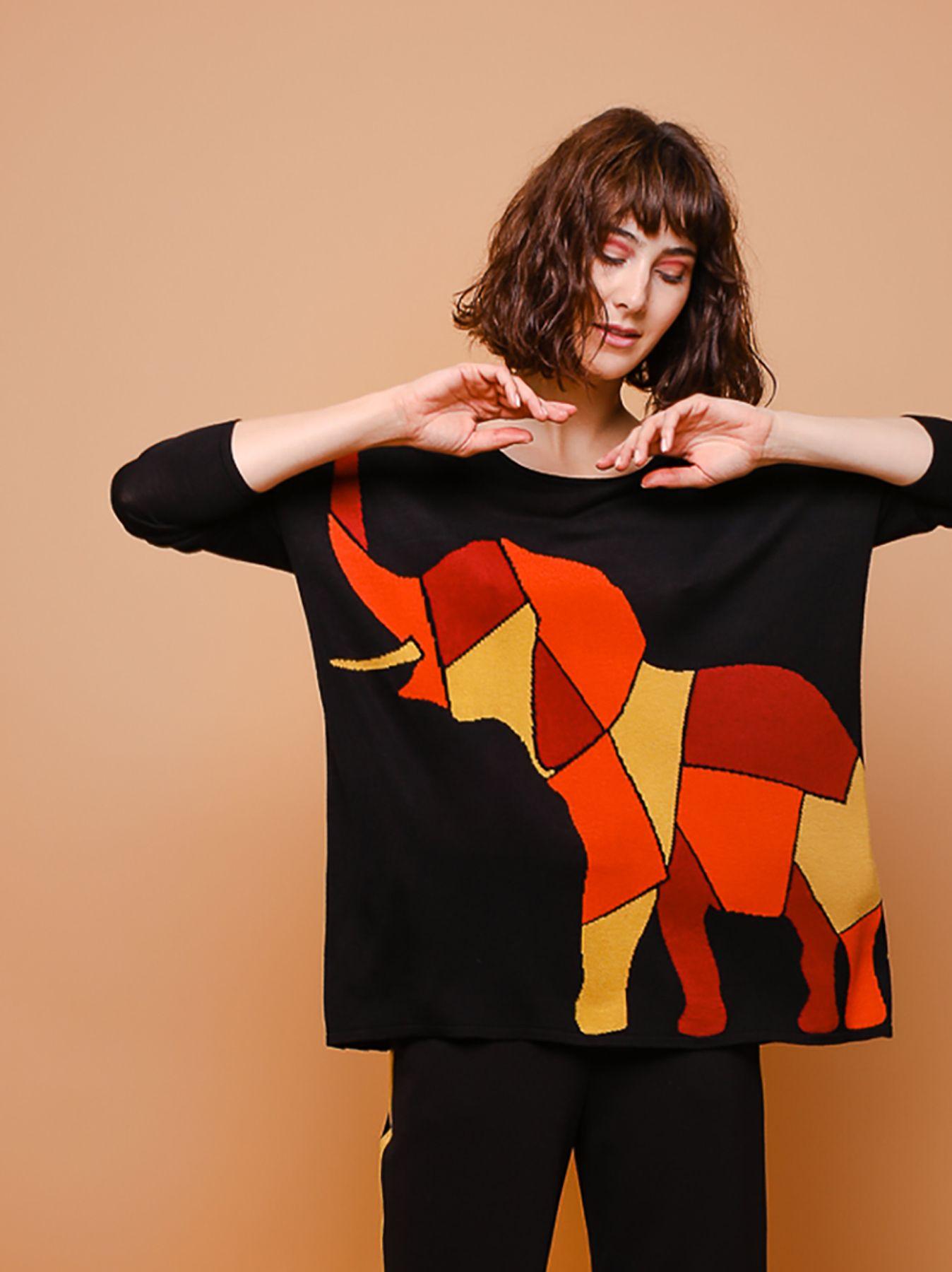 Maxi maglia jacquard elephant