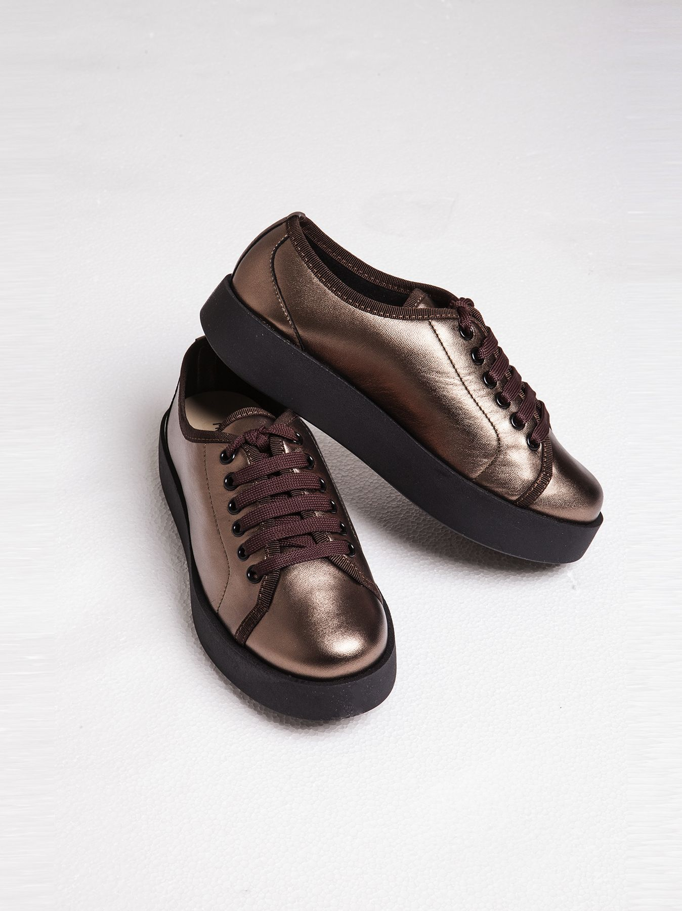 Sneakers plateau bronzo