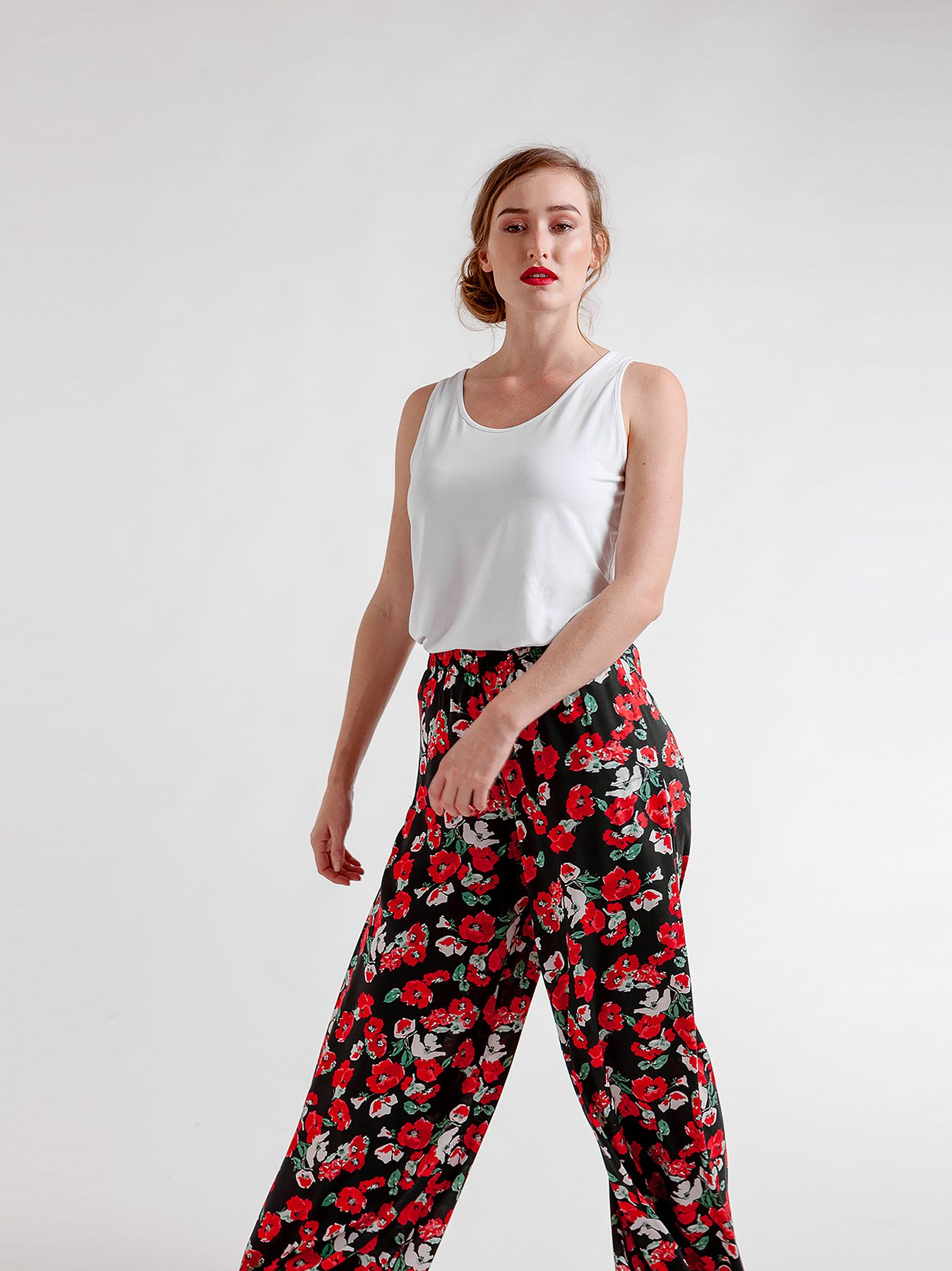 Pantalone FLOWER PRINT con sfondo piega