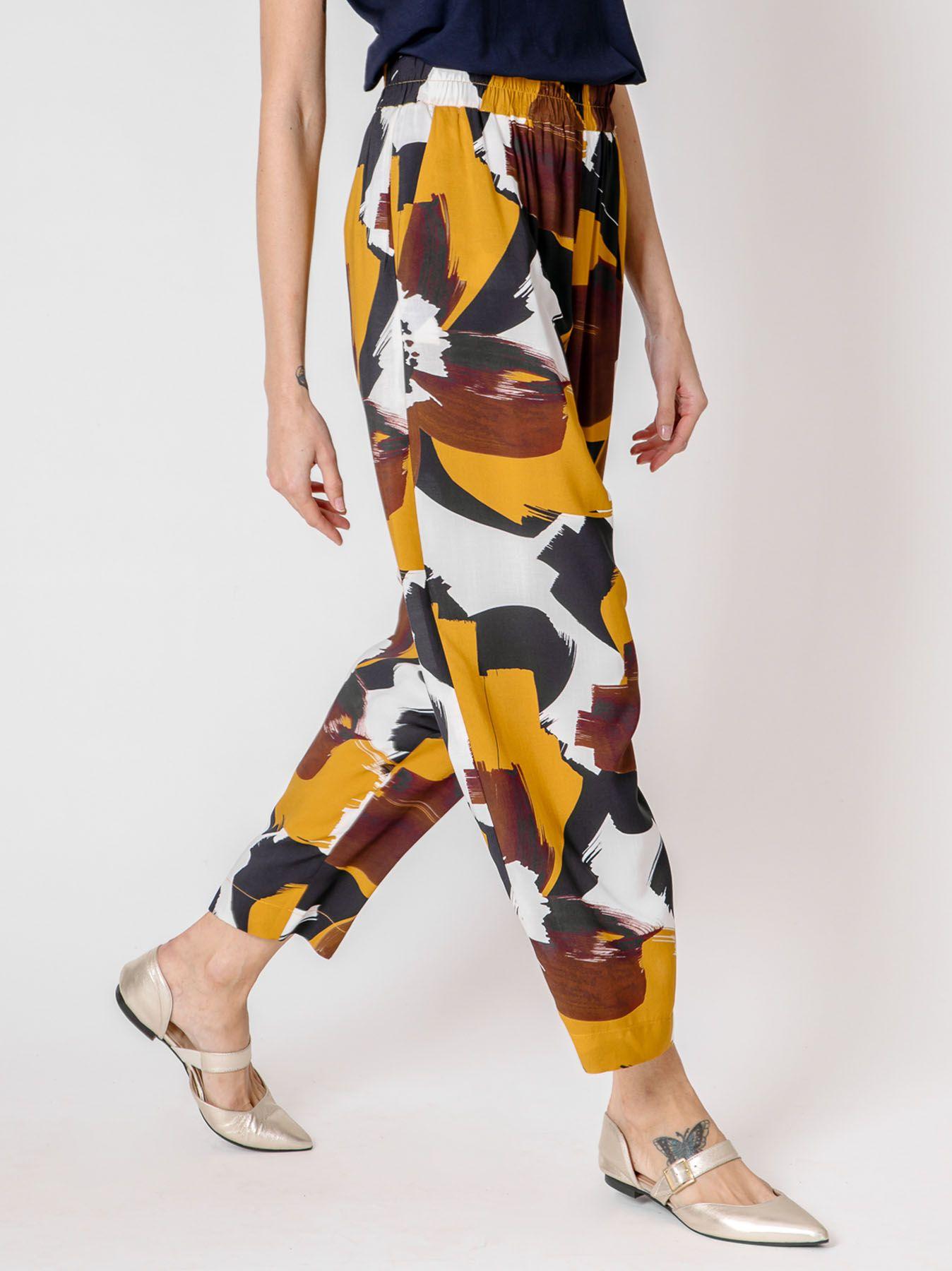 Pantalone gaucho stampa Macro Fiori