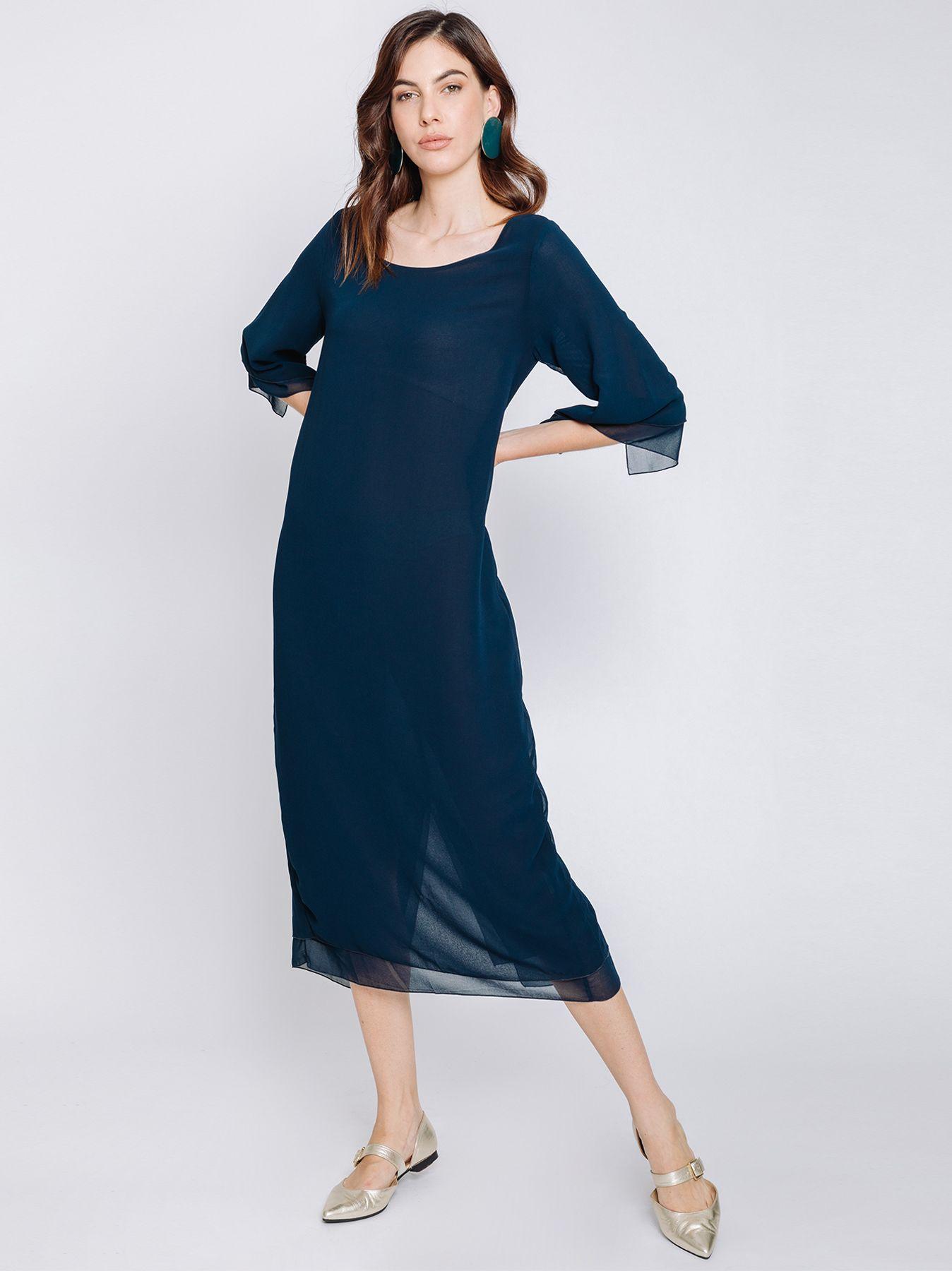 Long dress in double layer chiffon