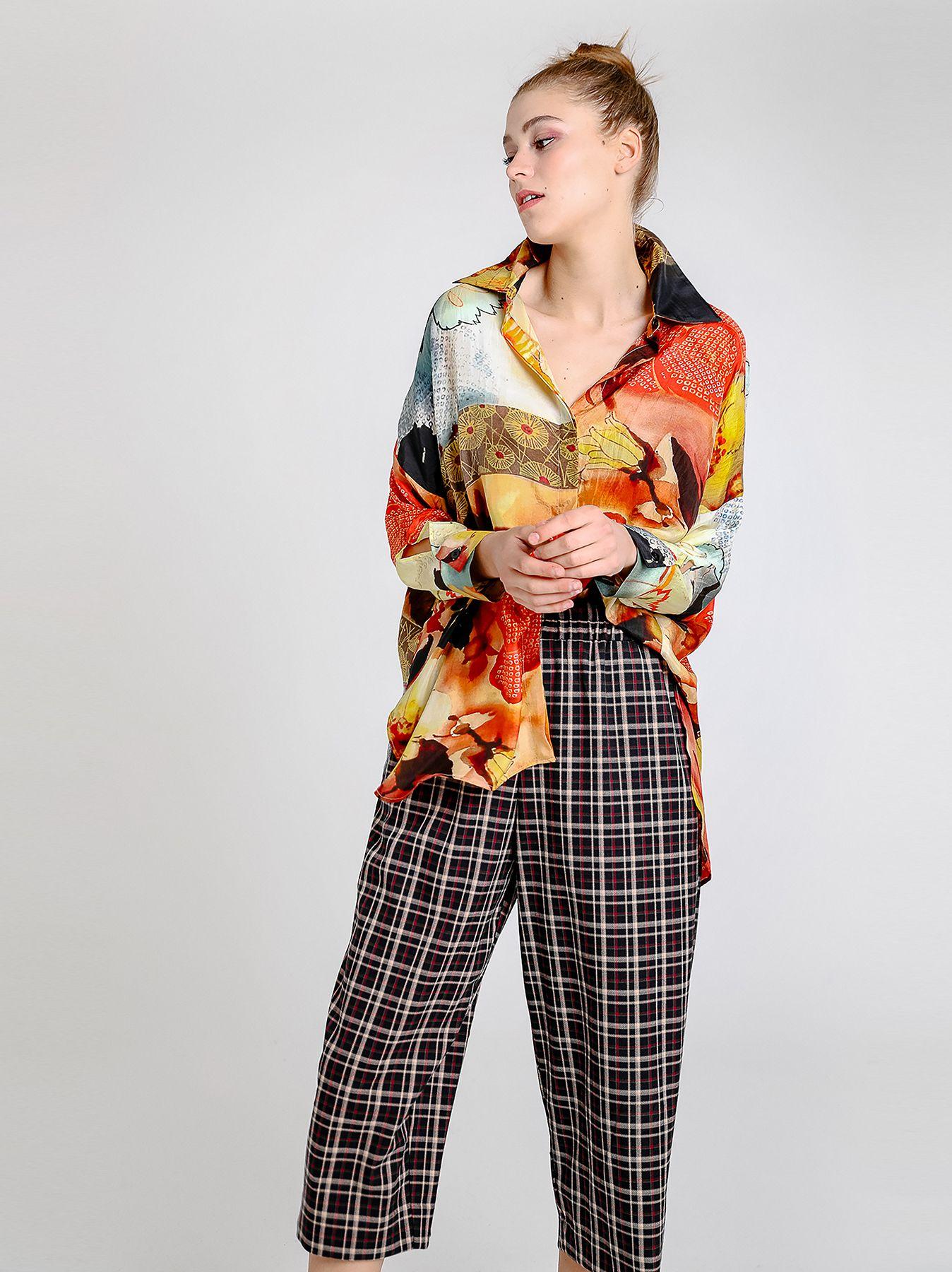 Maxi camicia in seta stampata