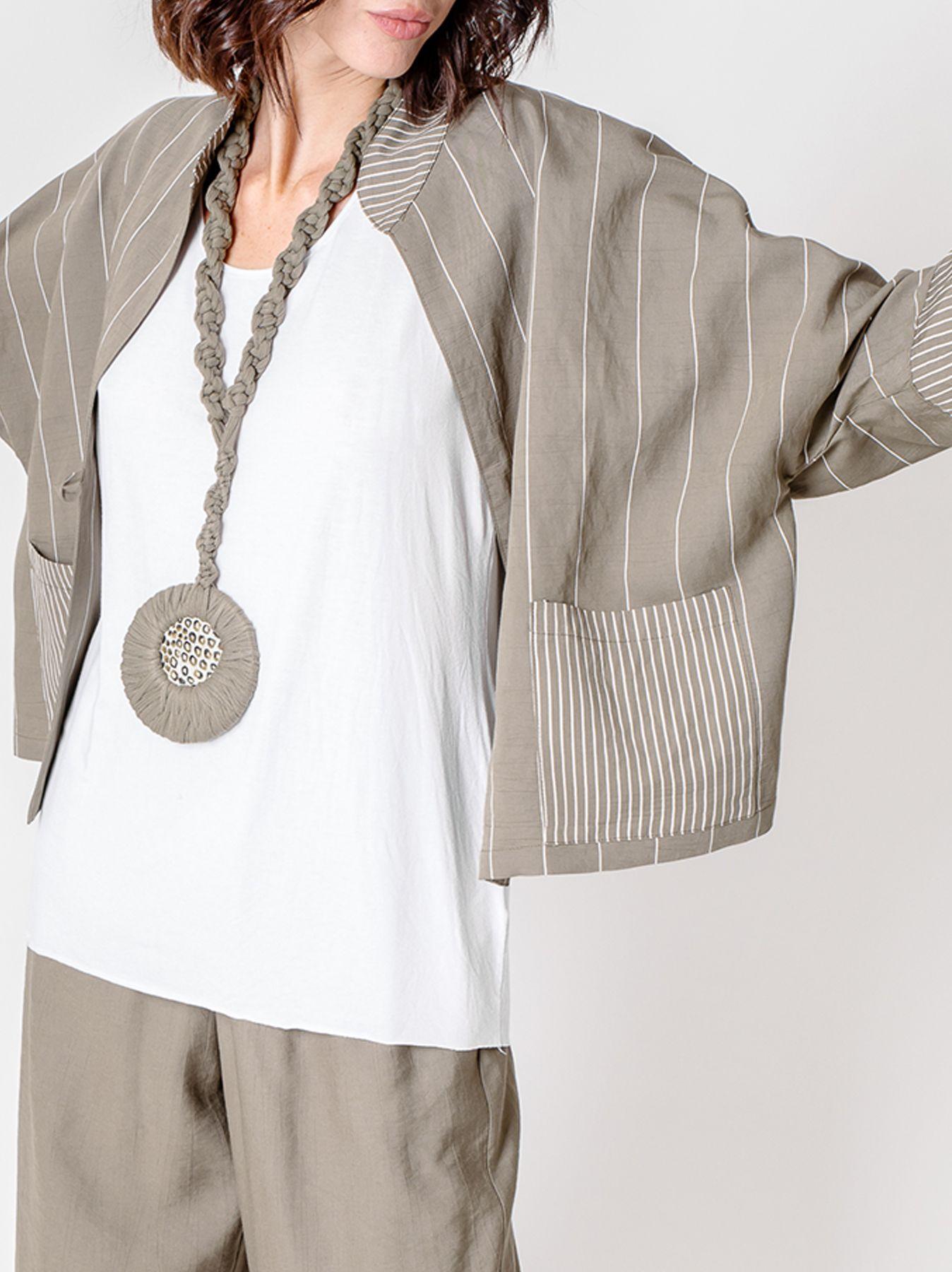 Giacca kimono gessata