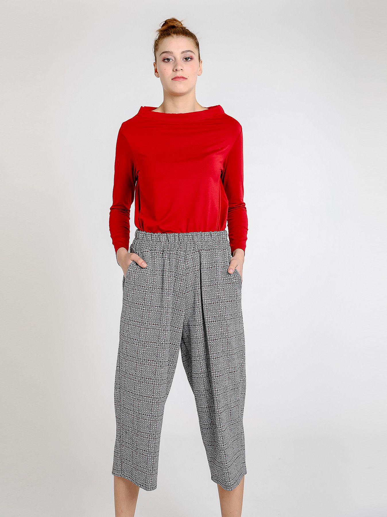 Pantalone midi in punto milano jacquard