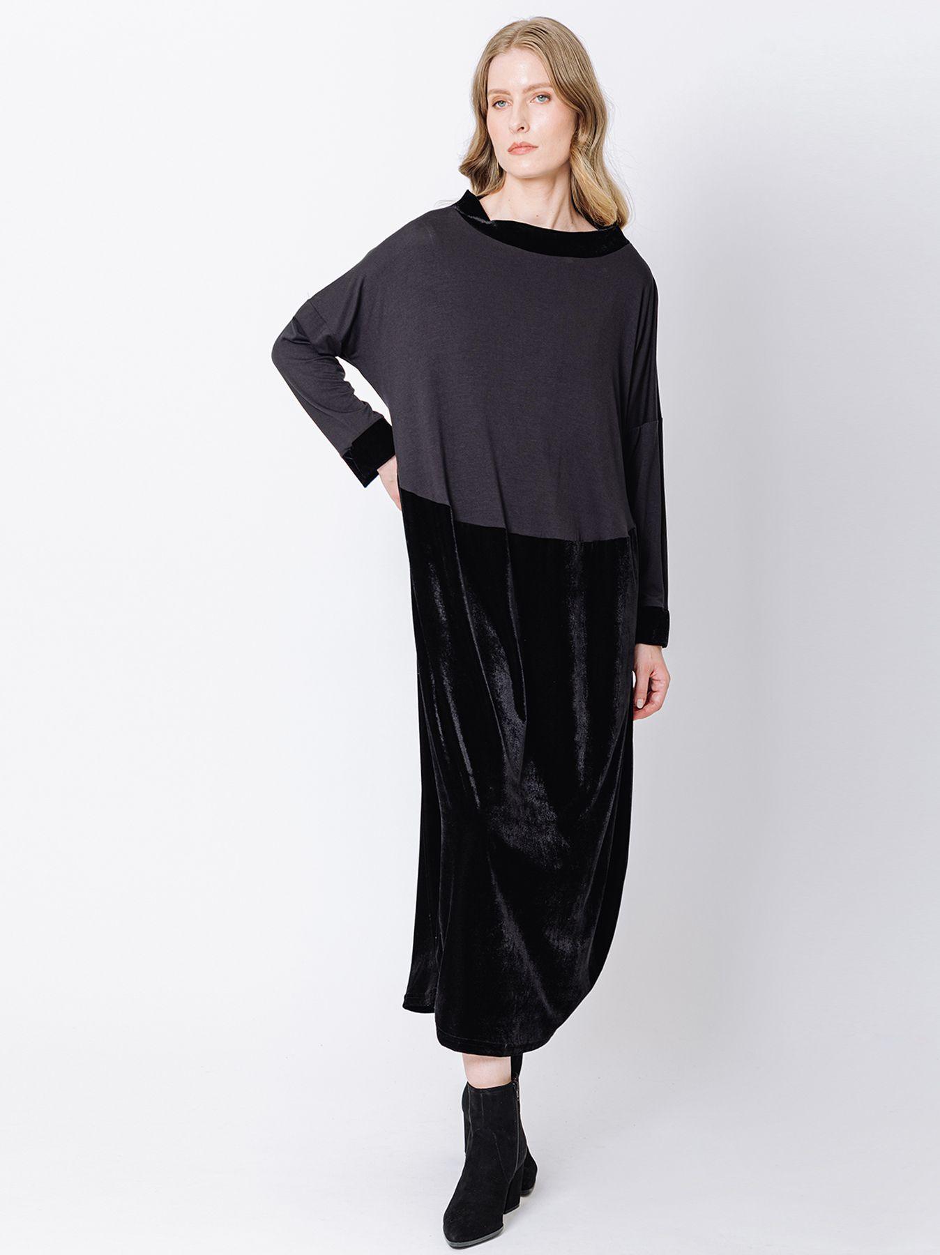 Dress with velvet insert