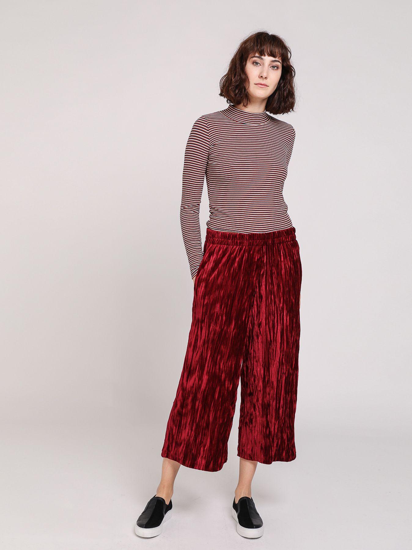 Pantalone palazzo in velluto a microcoste