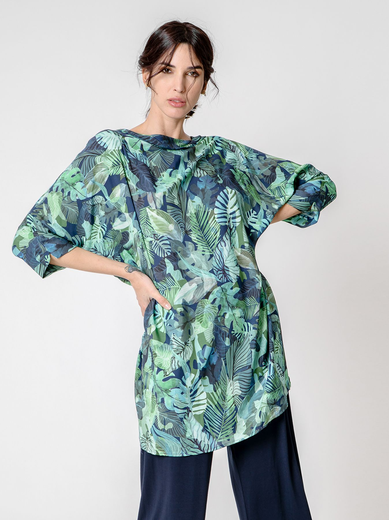 Maxi blusa in viscosa JUNGLE PRINT
