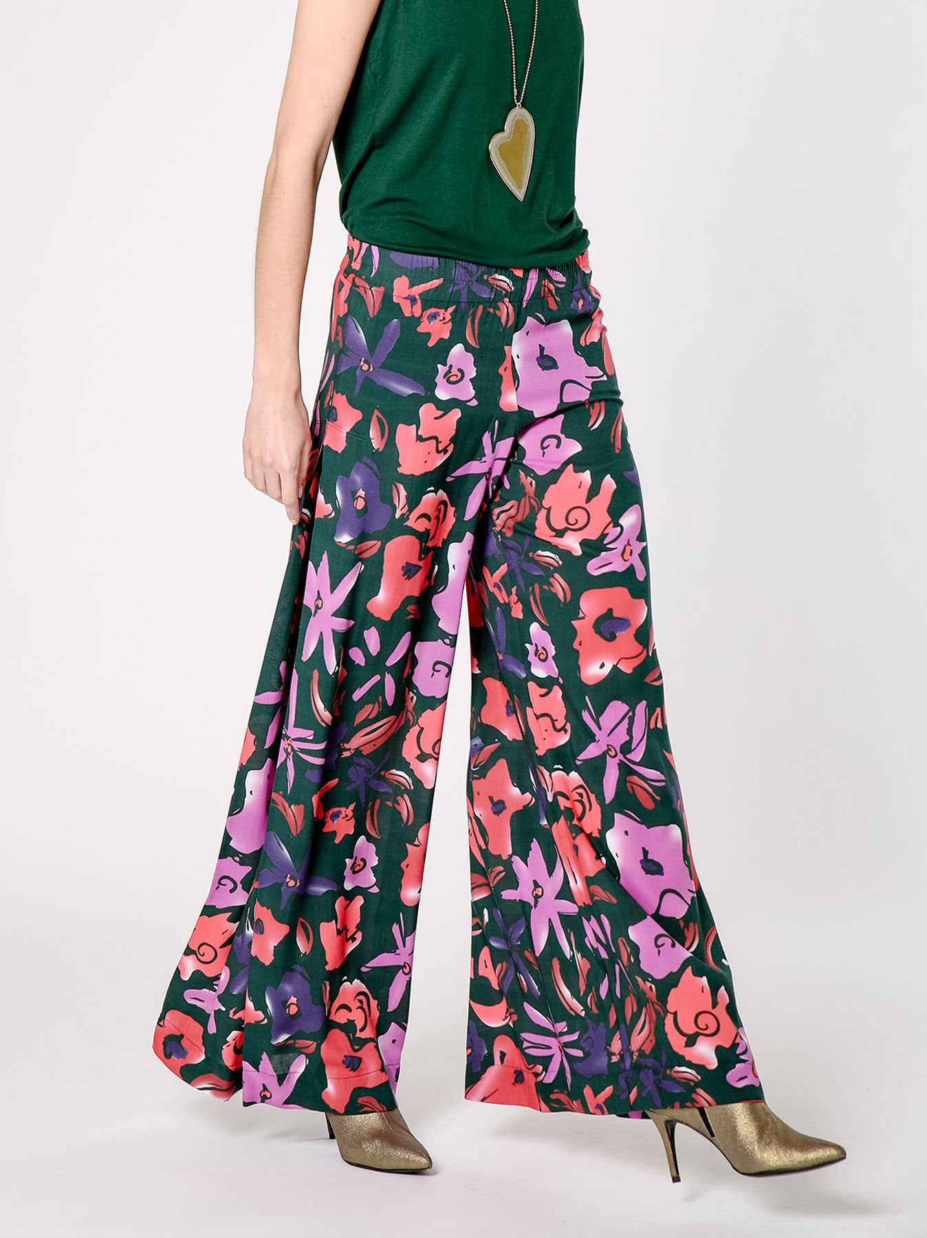 Pantalone palazzo con fantasia floreale