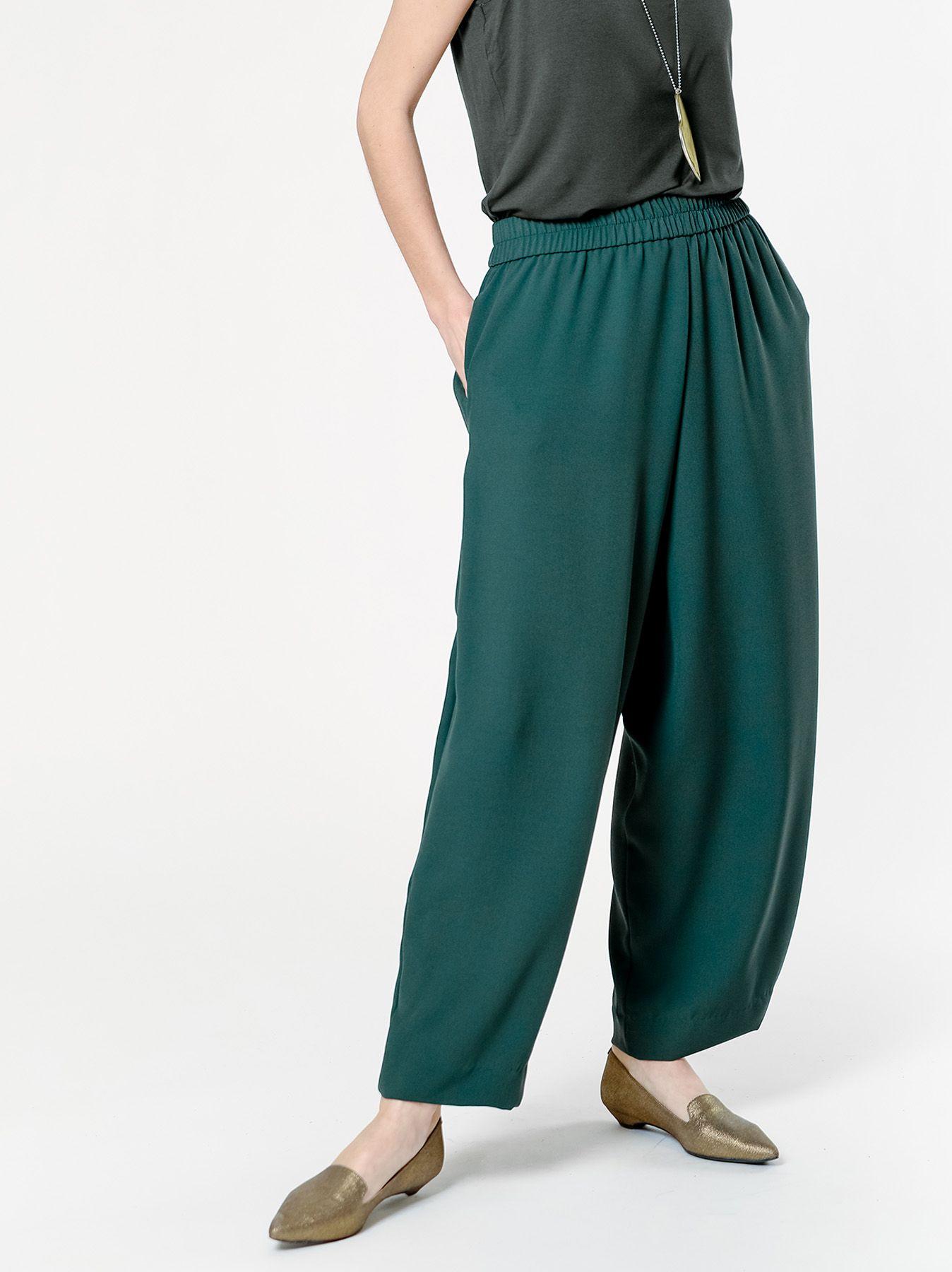 Pantalone gaucho in tessuto cady