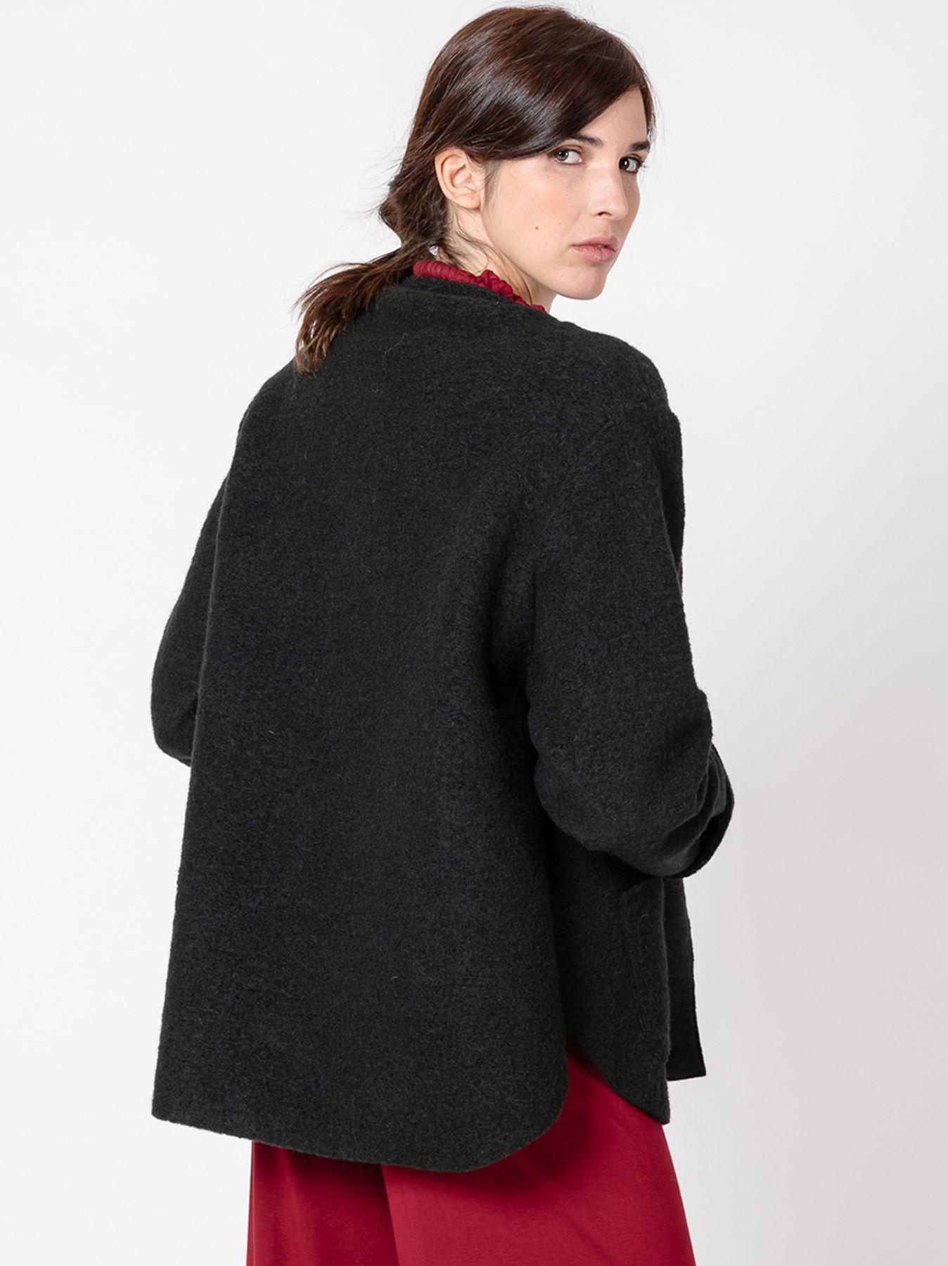 Giacca trapezio in lana cotta NERA
