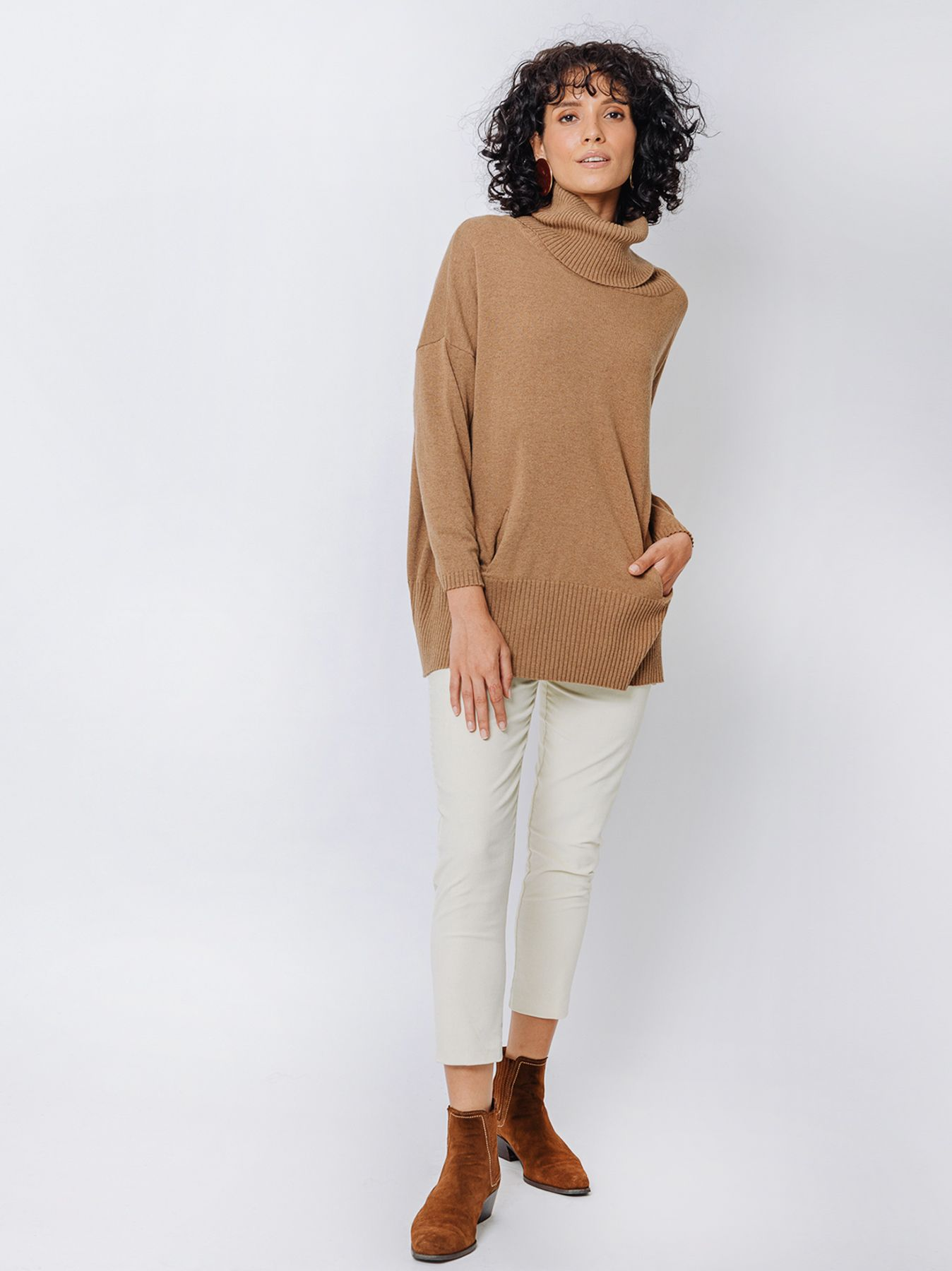 Maxi shirt high neck