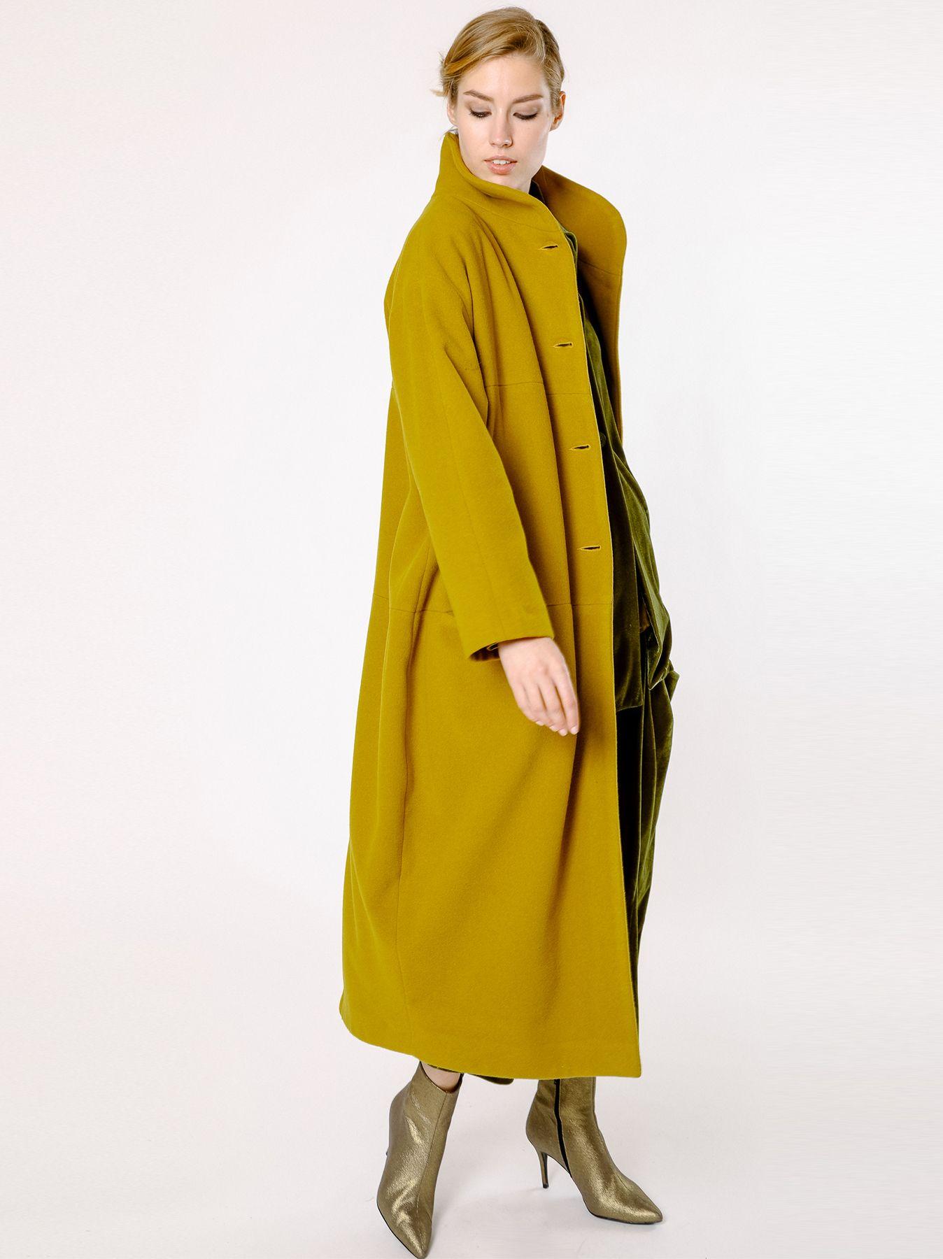 Cappotto lungo in velour di lana