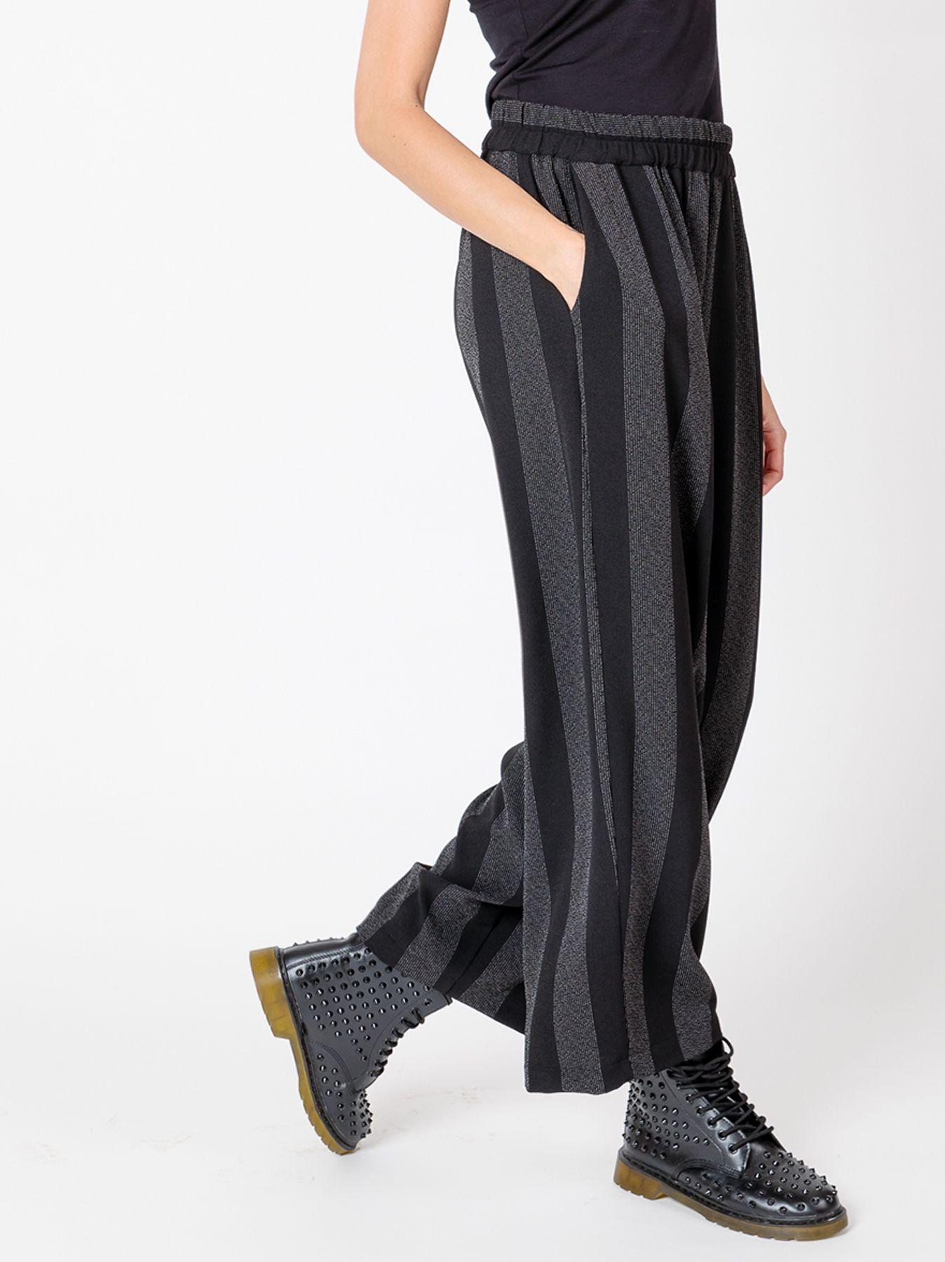 Pantalone gaucho in crépe gessato