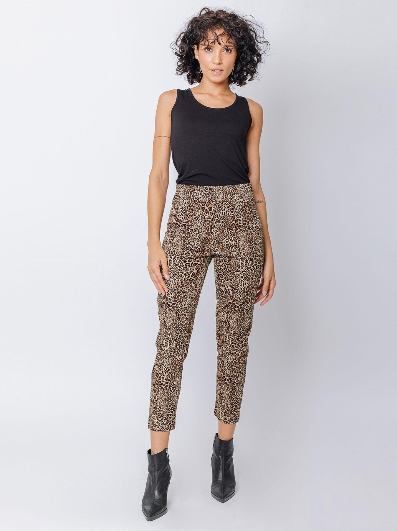 Pantalone skinny con stampa maculata