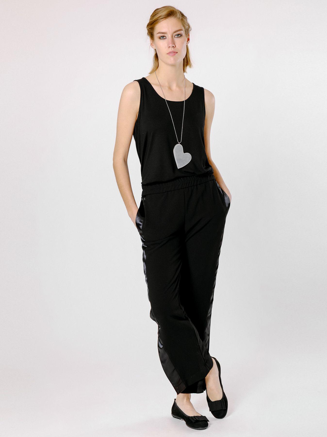 Pantalone con banda di raso