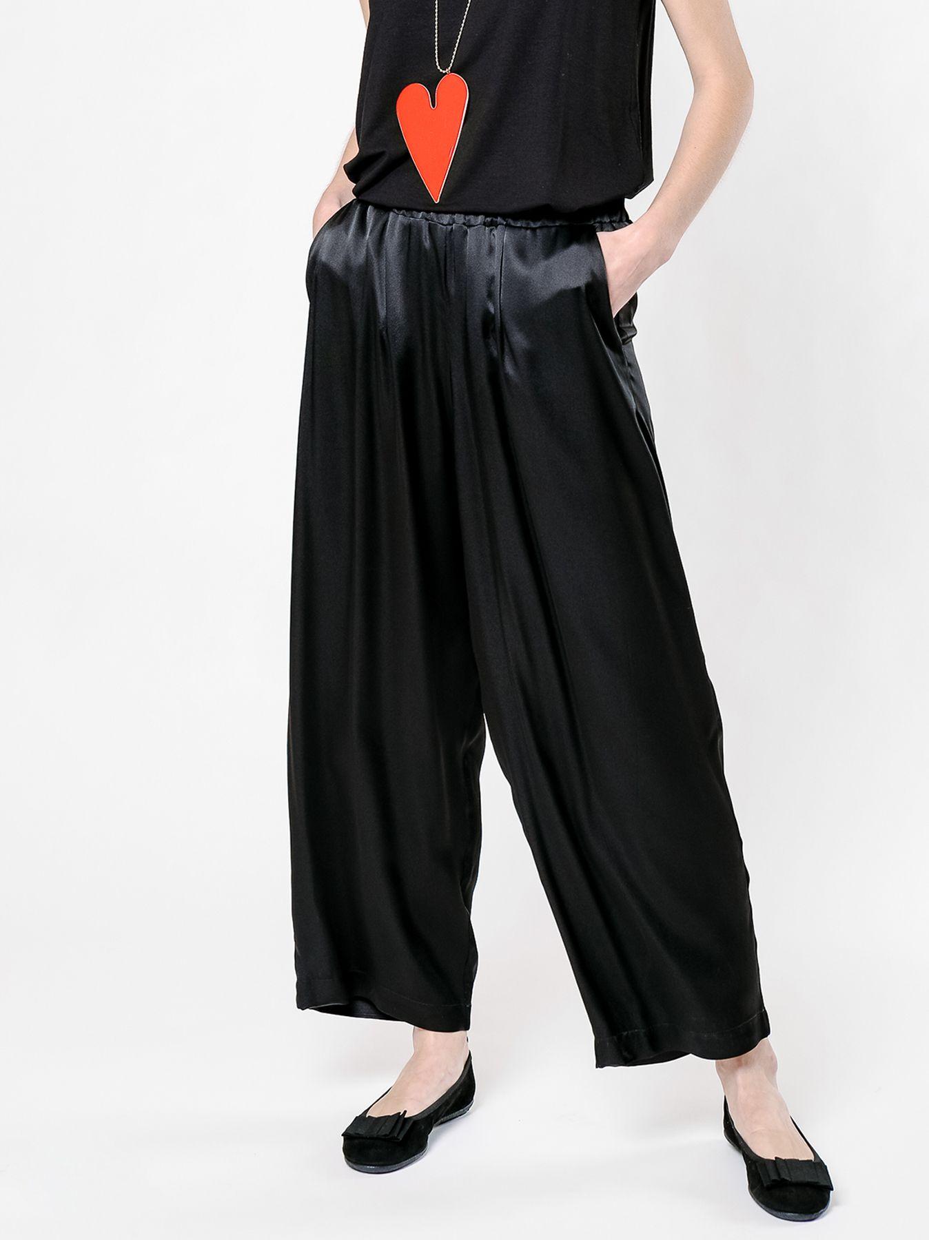 Pantalone cargo in raso