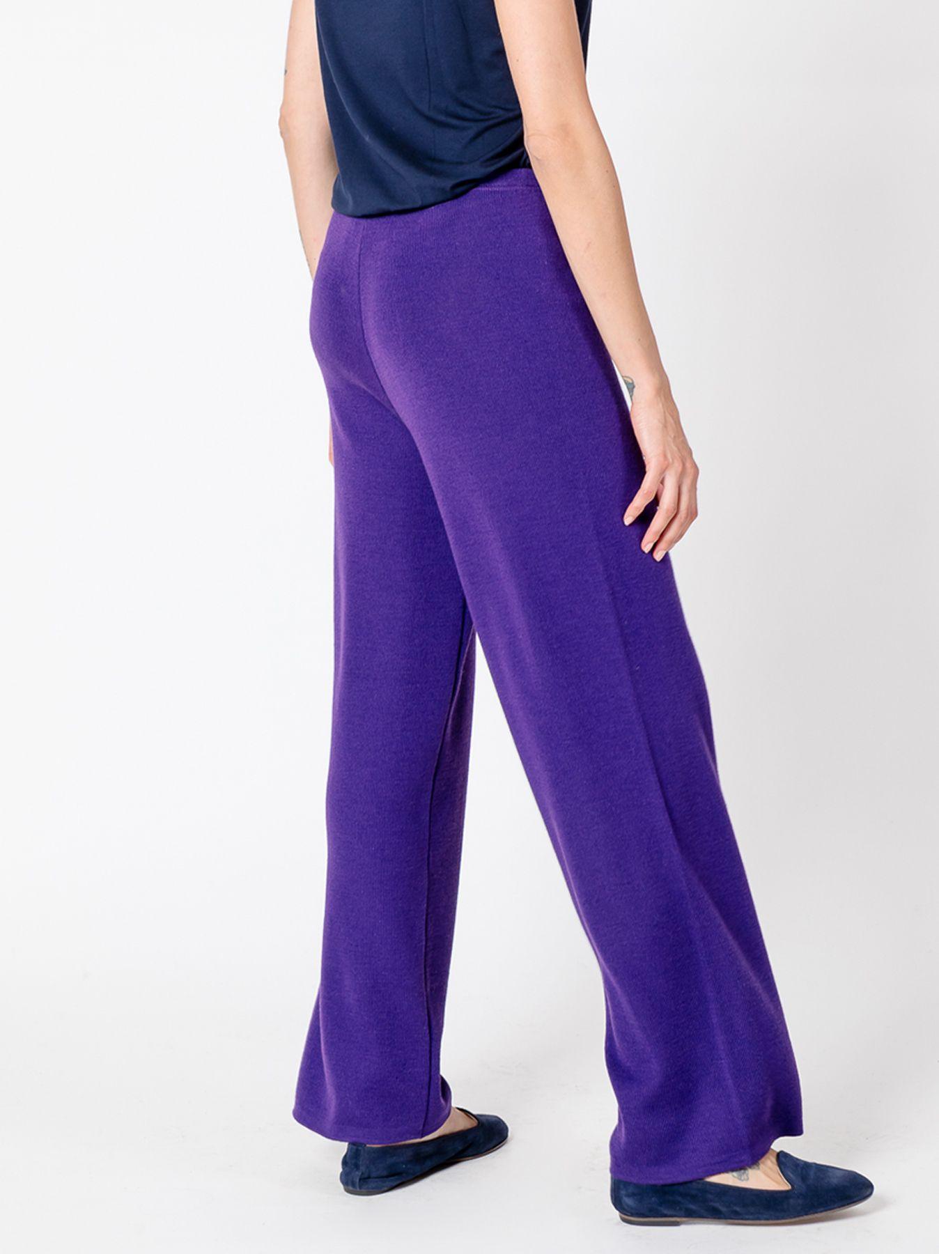 Pantalone elastico in maglia VIOLA