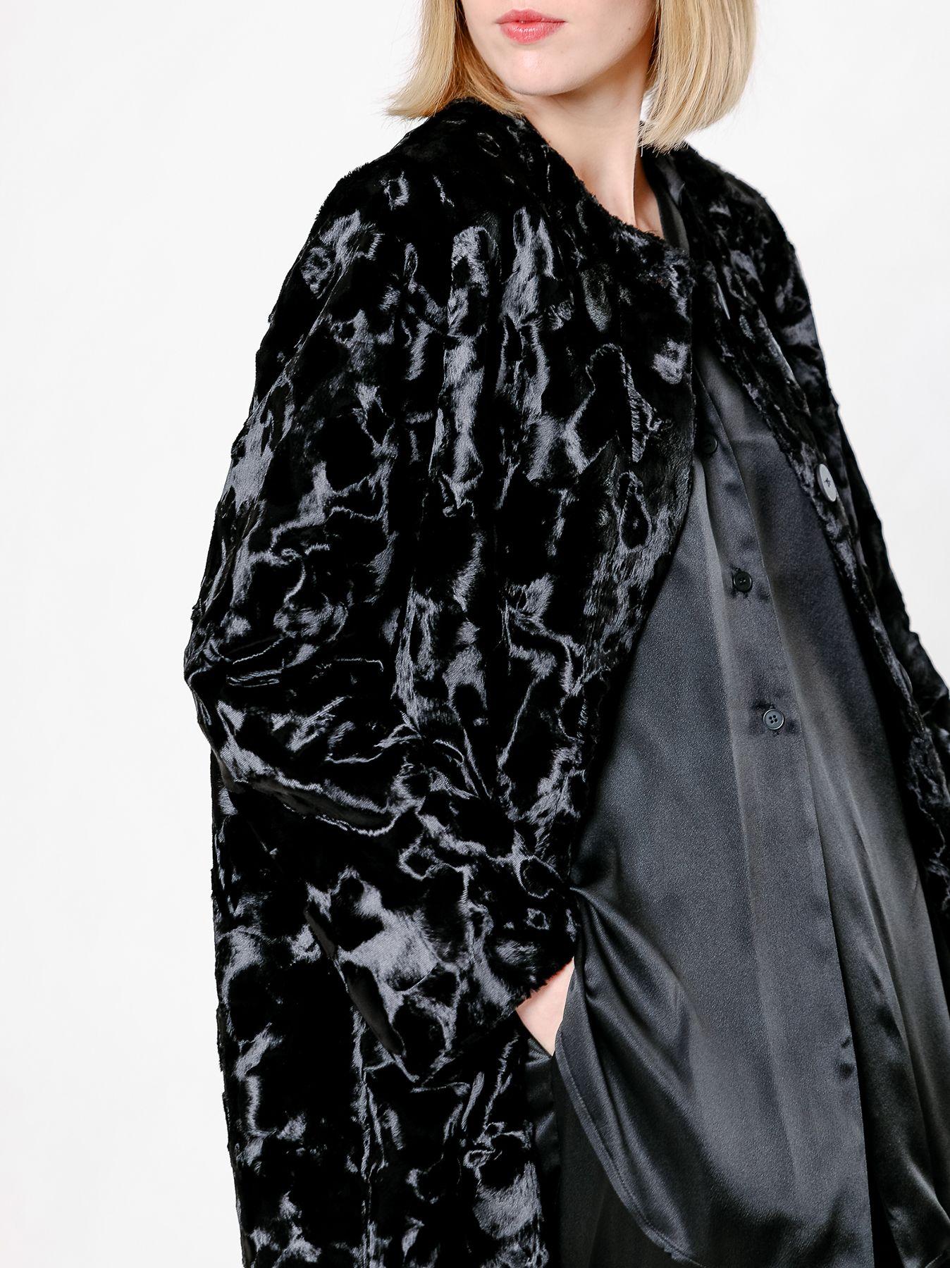 Cappotto in pelliccia ecologica di cavallino