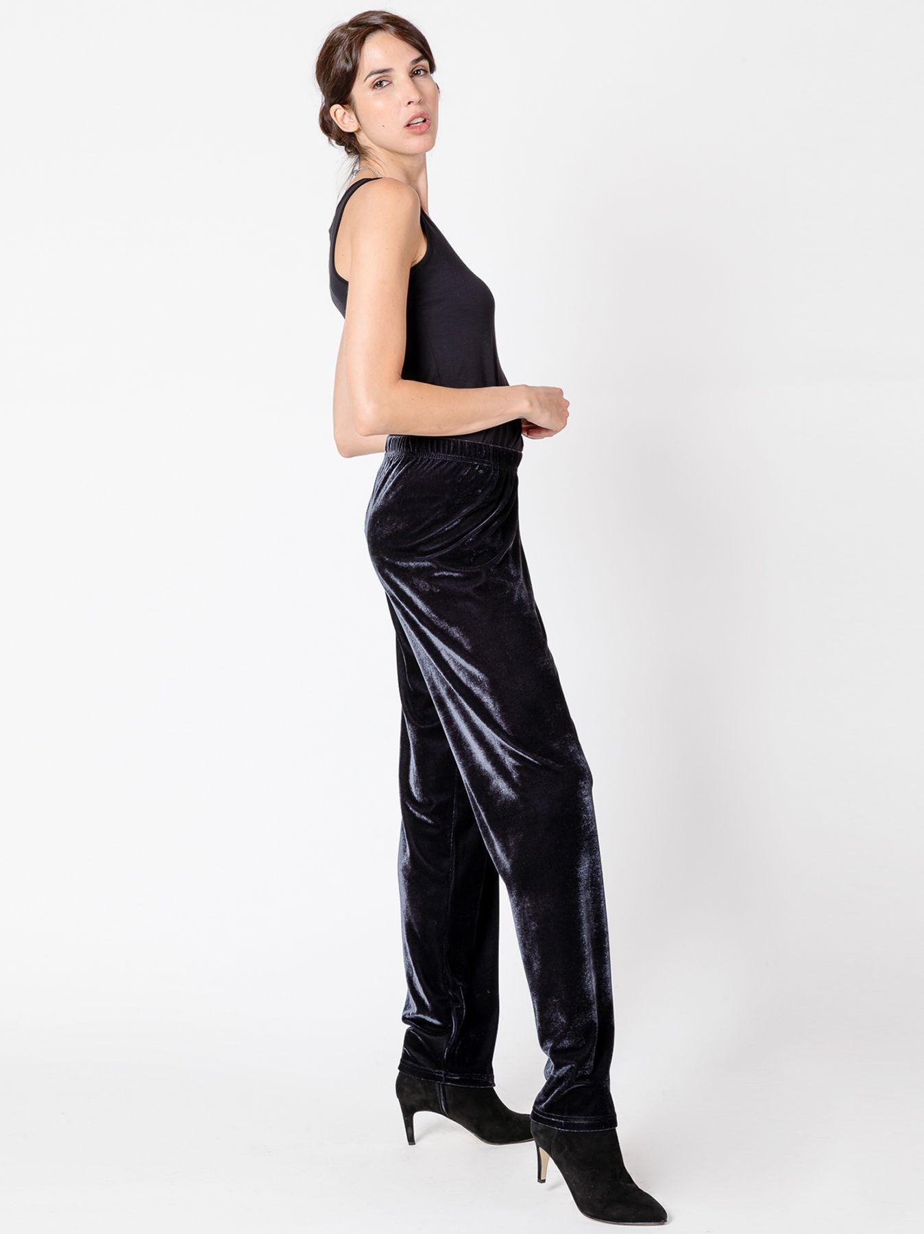 Pantalone morbido in velluto GRIGIO SCURO
