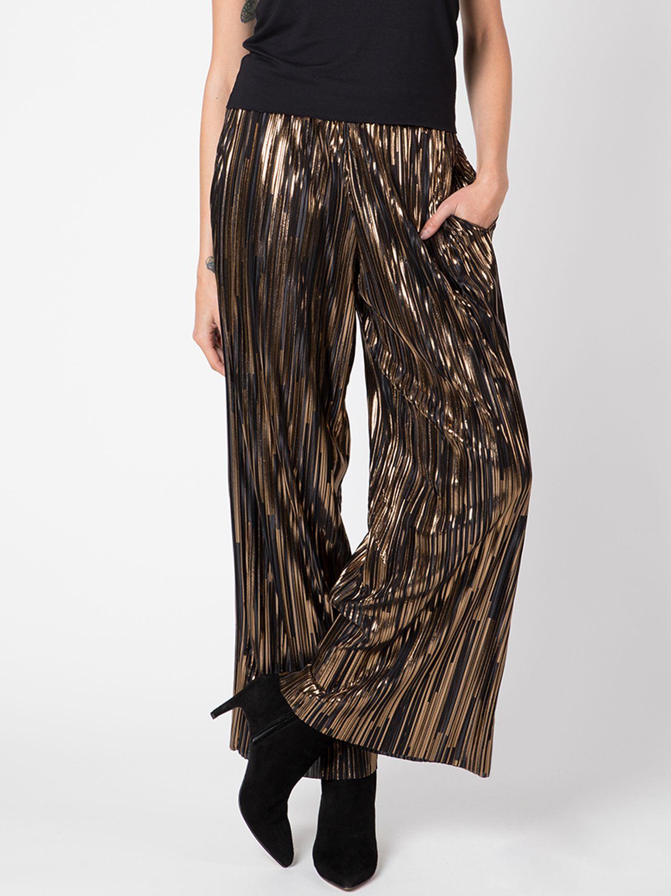 Pantalone palazzo in plissé con lurex